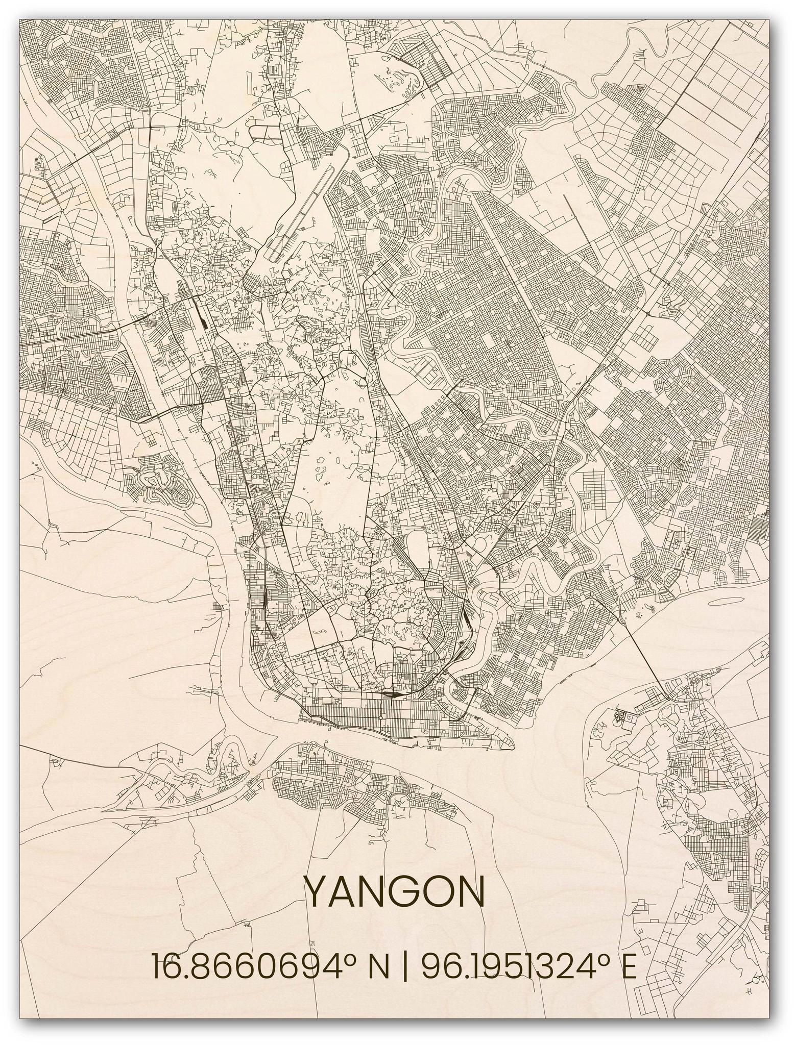 Houten stadsplattegrond Yangon-1