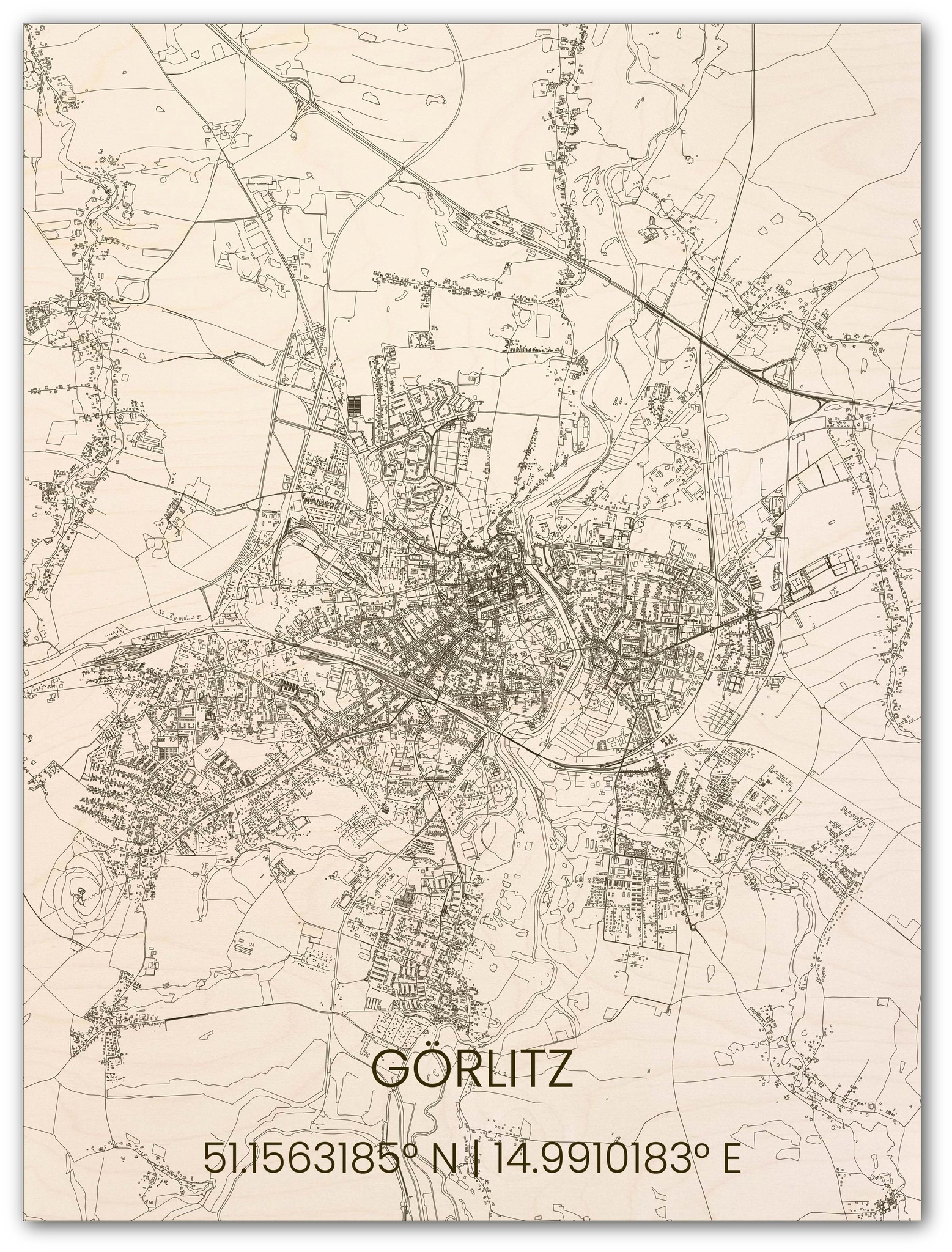 Houten stadsplattegrond Görlitz-1