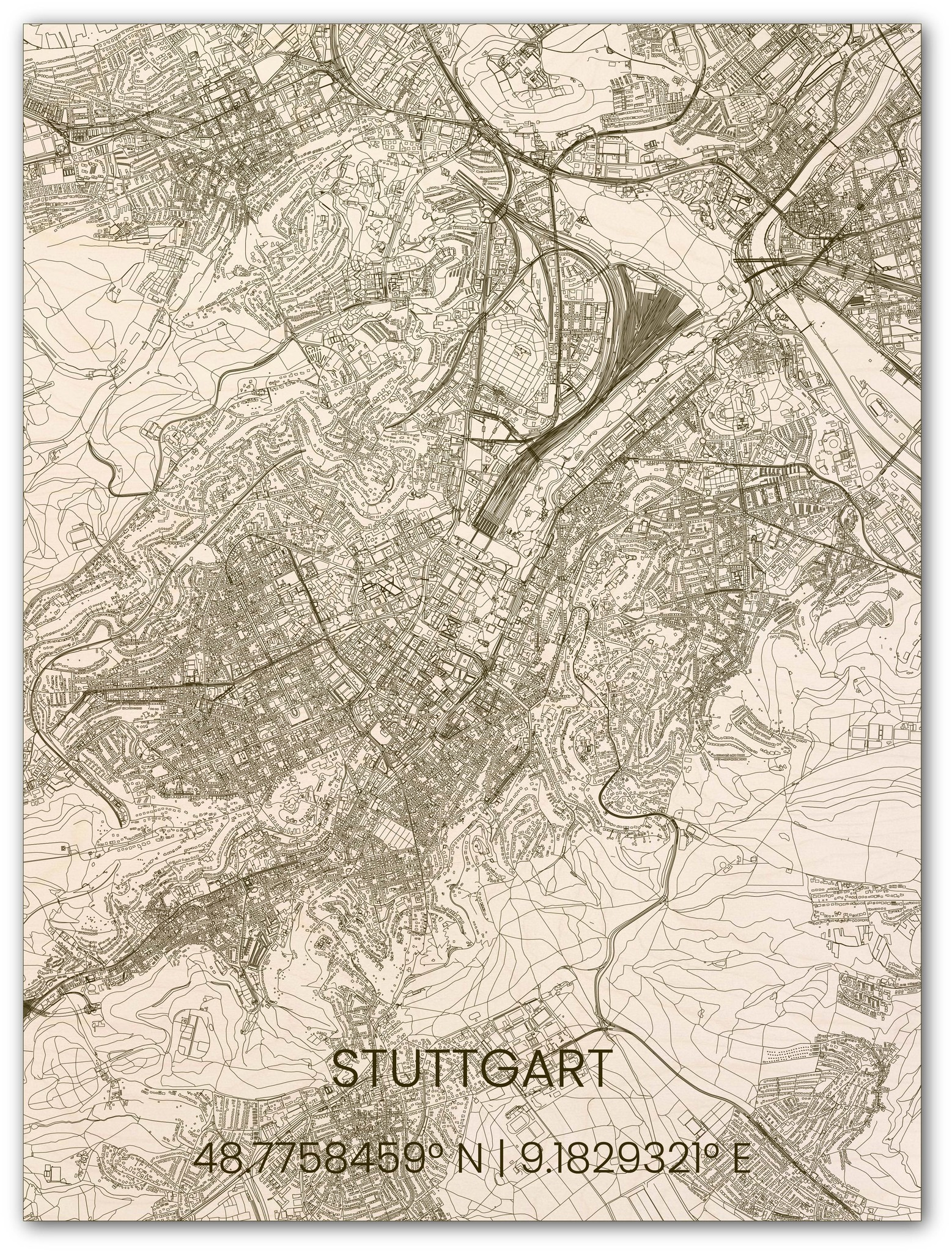 Wooden wall decoration citymap Stuttgart-1