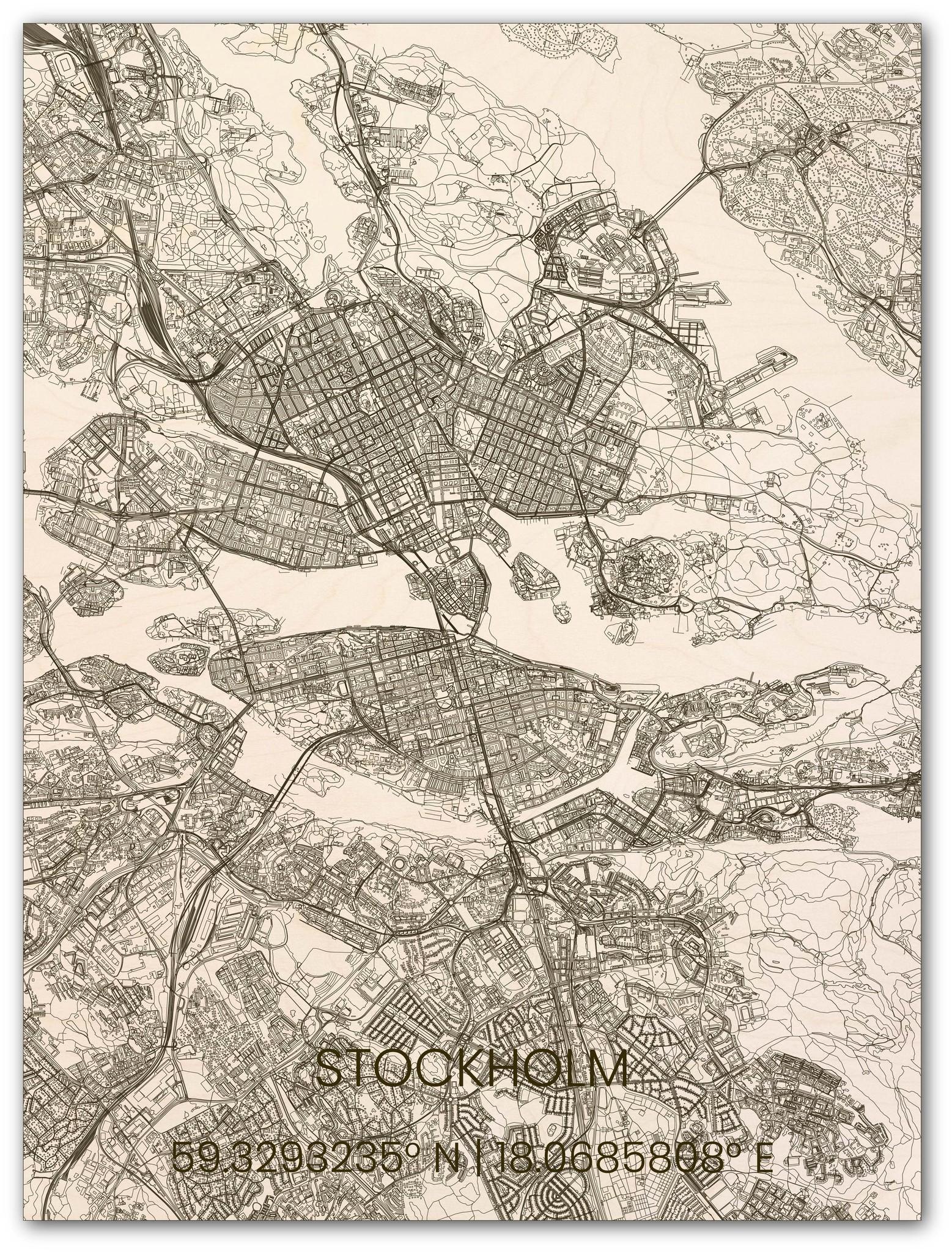Houten stadsplattegrond Stockholm-1