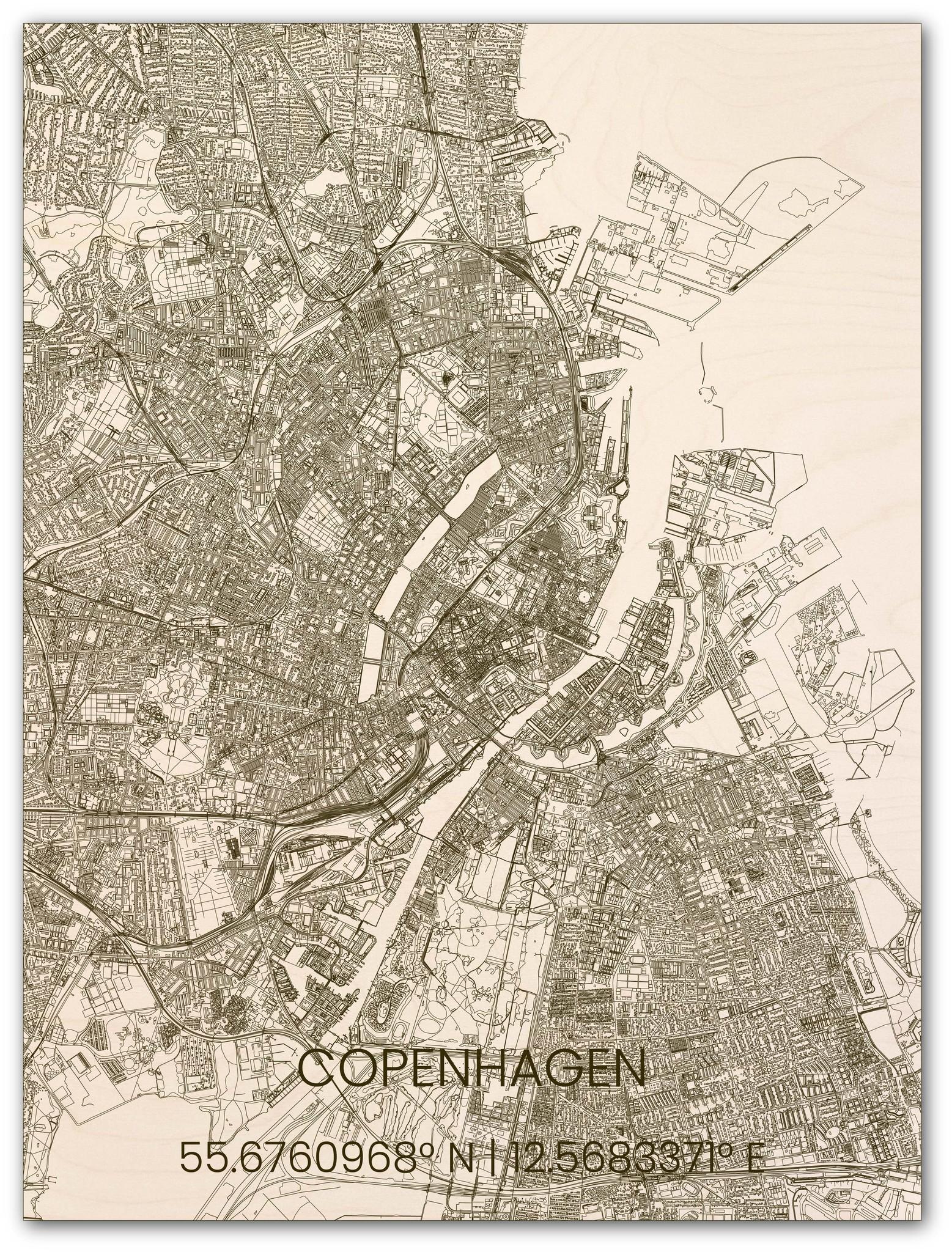 Wooden wall decoration citymap Copenhagen-1