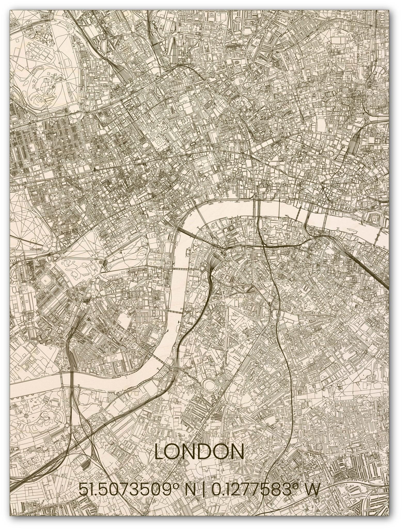 Houten stadsplattegrond Londen-1