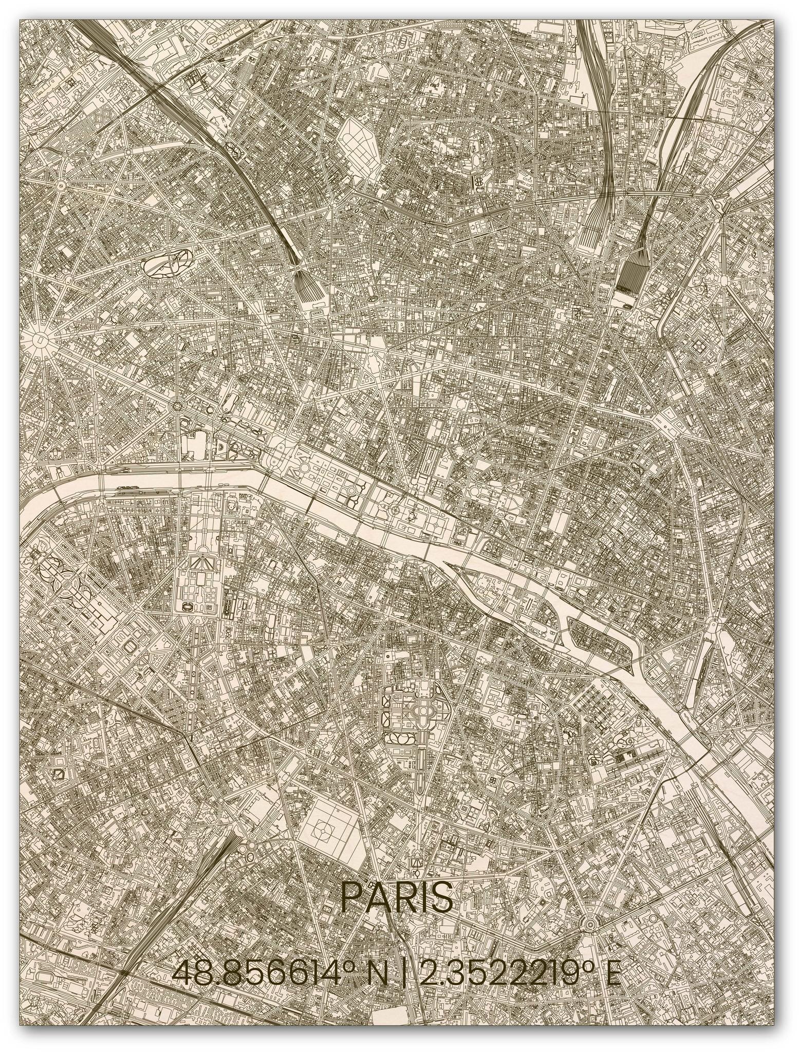 Wooden wall decoration citymap Paris-1