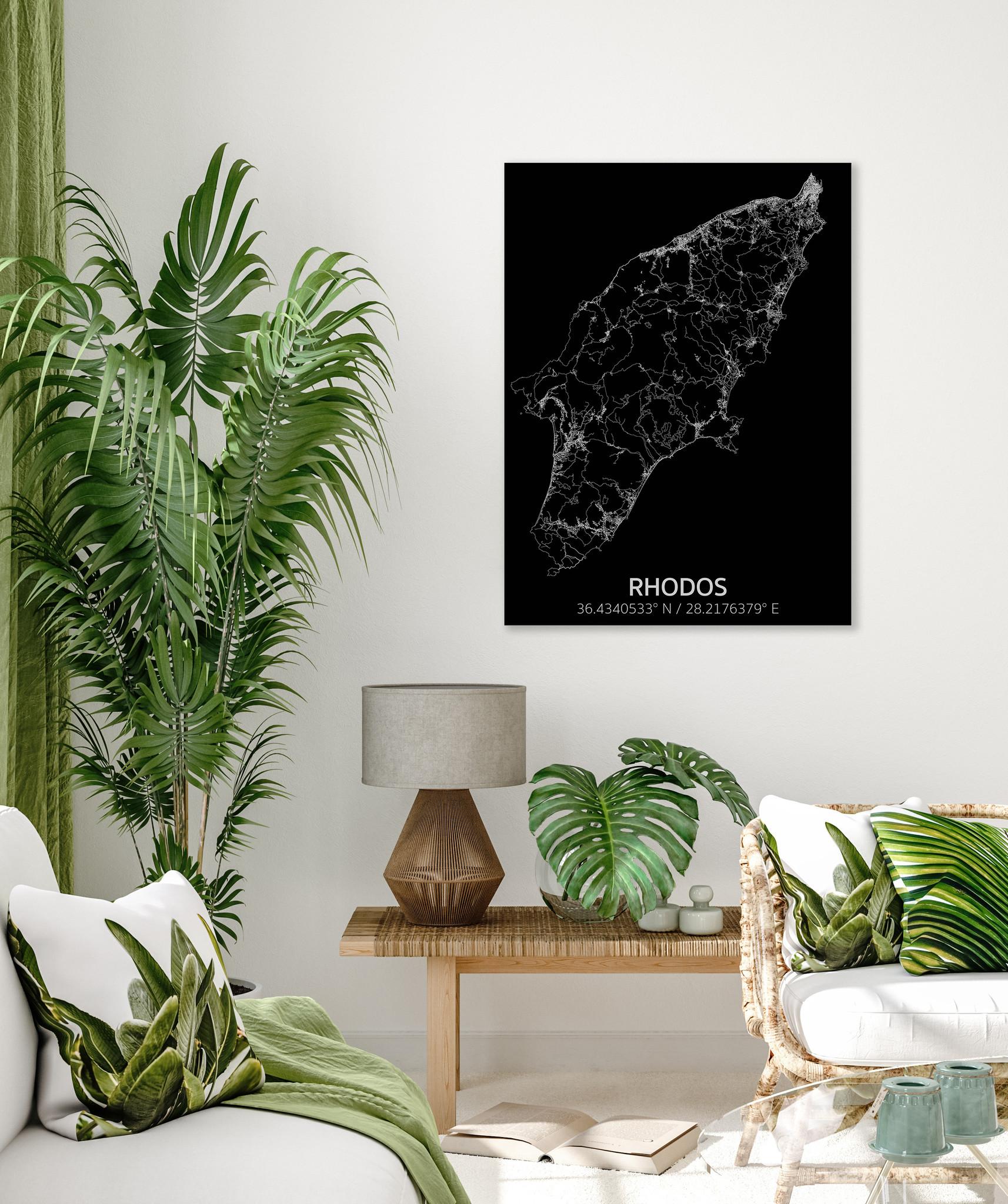 Stadtkarte Rhodos | Aluminium Wanddekoration-2