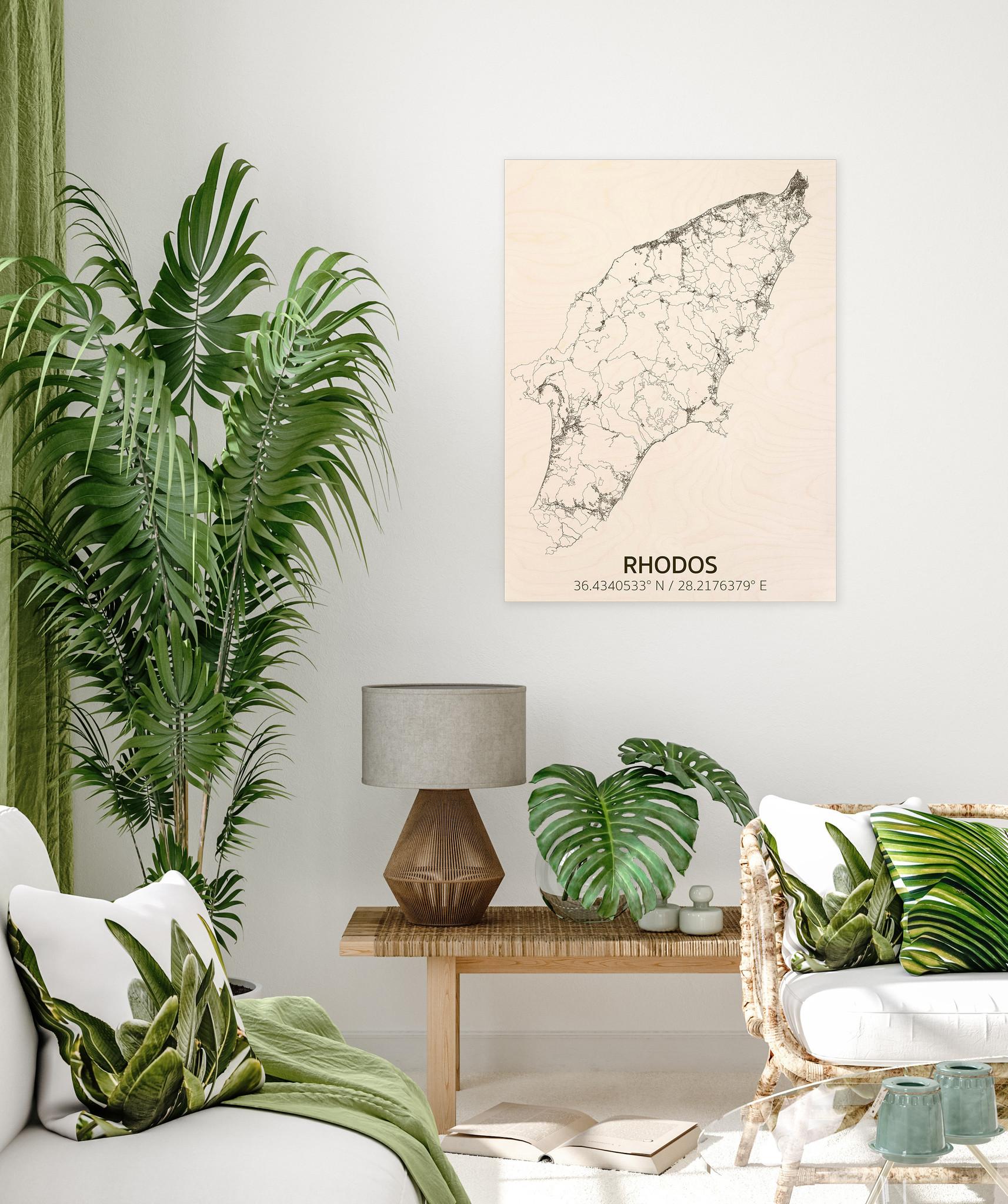 Citymap Rhodos | houten wanddecoratie-2