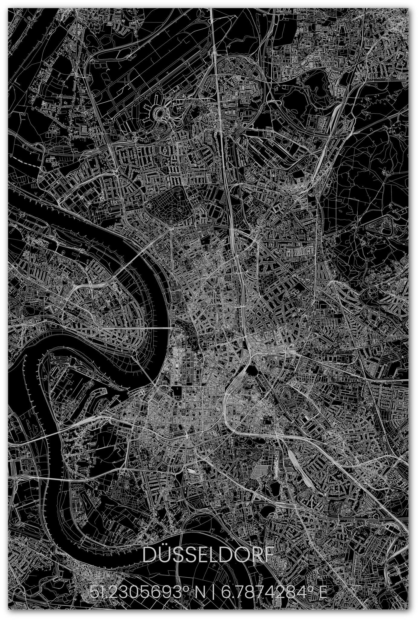 Stadsplattegrond Düsseldorf XL-2