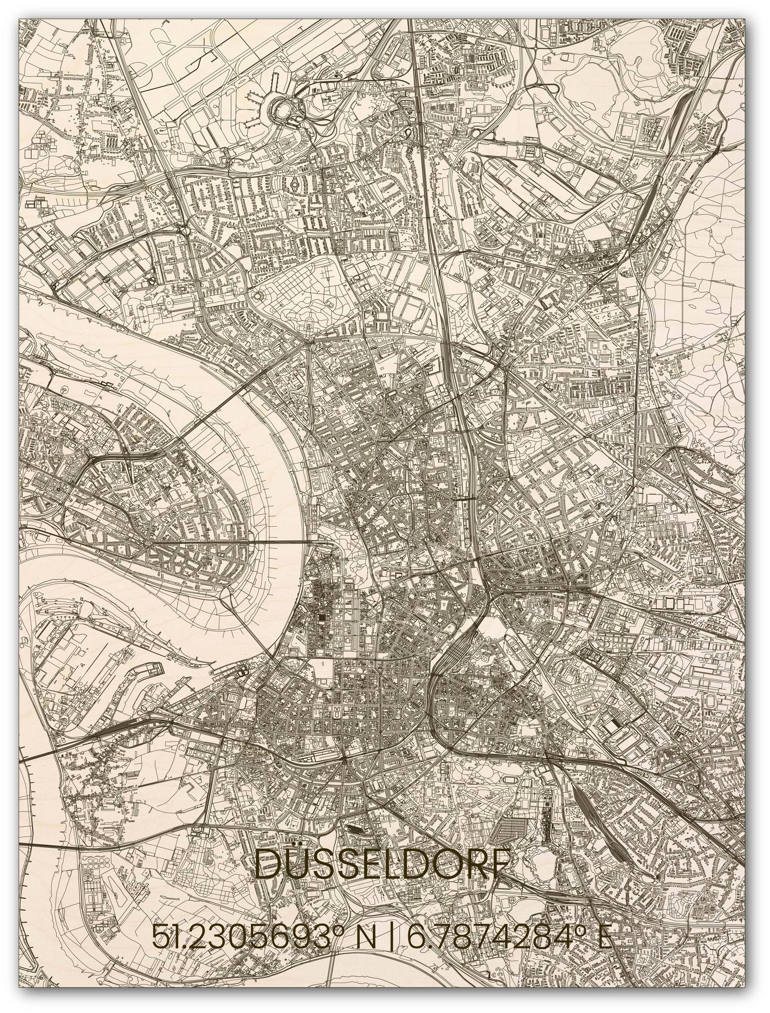 Hölzerner Stadtplan Düsseldorf-1