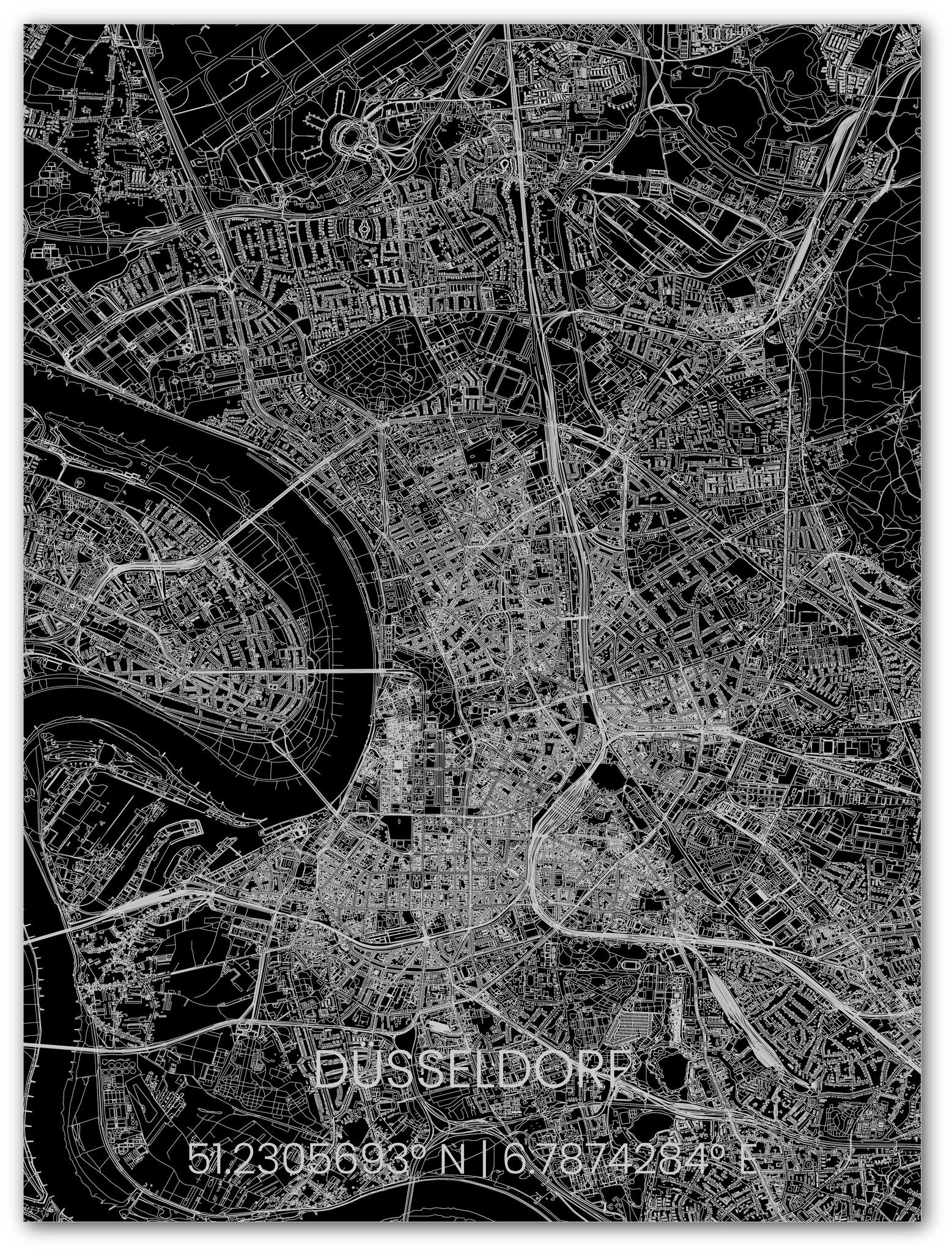 Metal citymap Düsseldorf-1