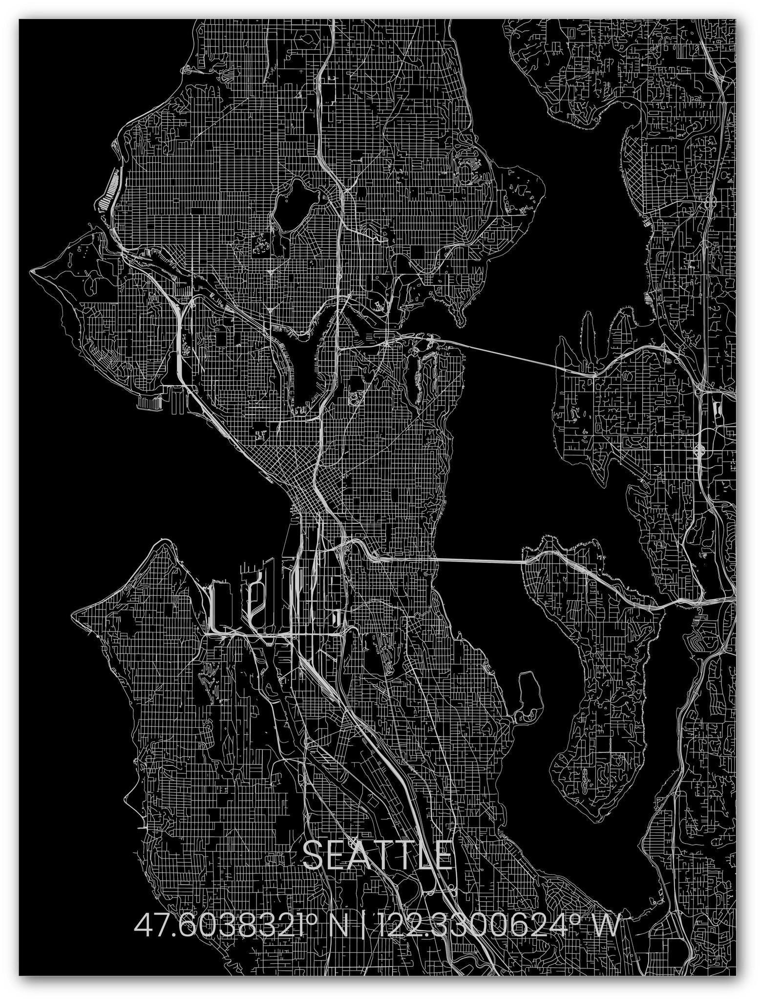Metalen stadsplattegrond Seattle-1