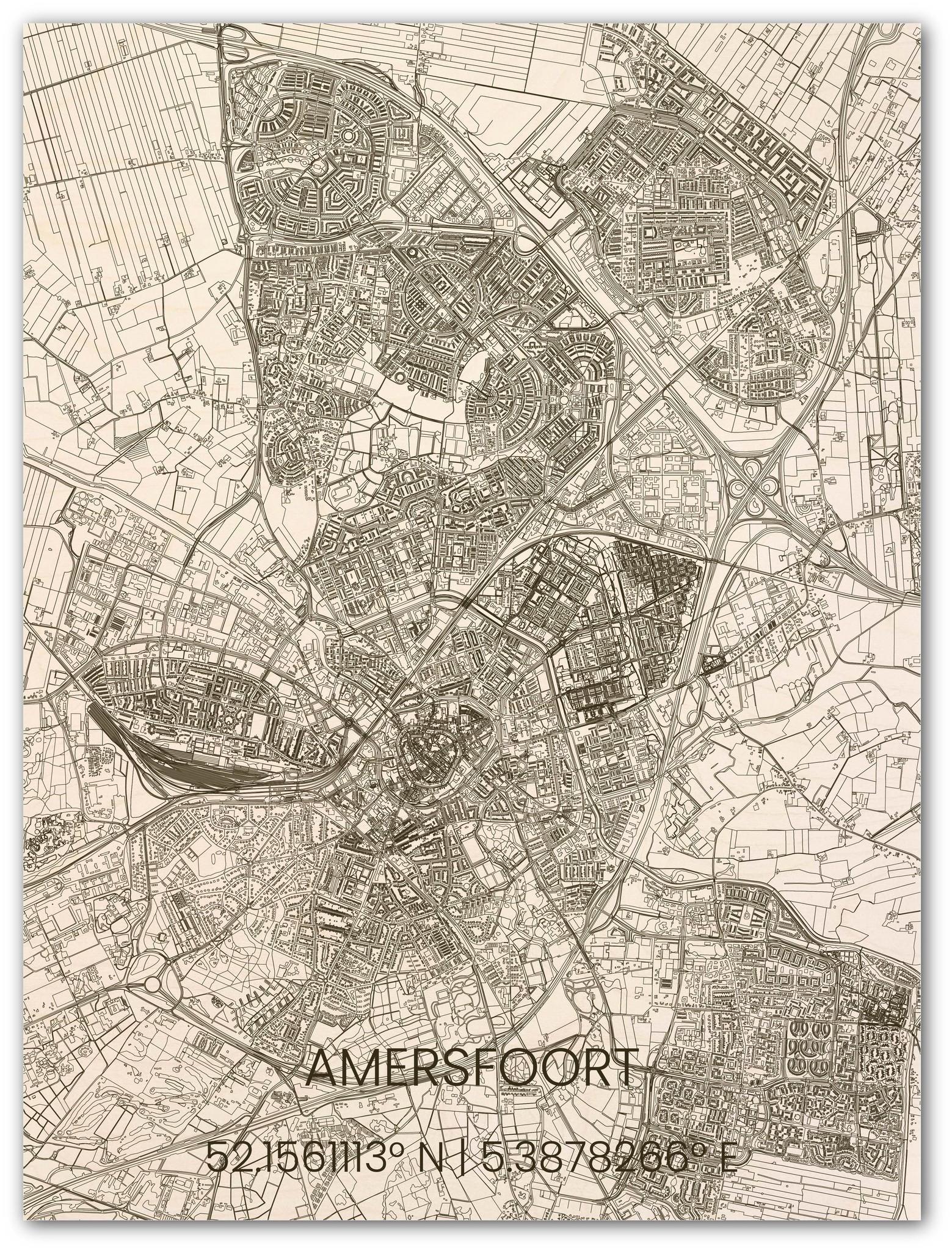 Houten stadsplattegrond Amersfoort-1