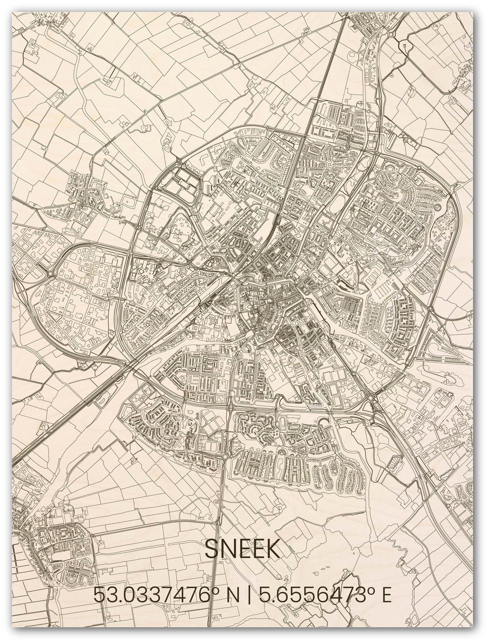 Houten stadsplattegrond Sneek-1