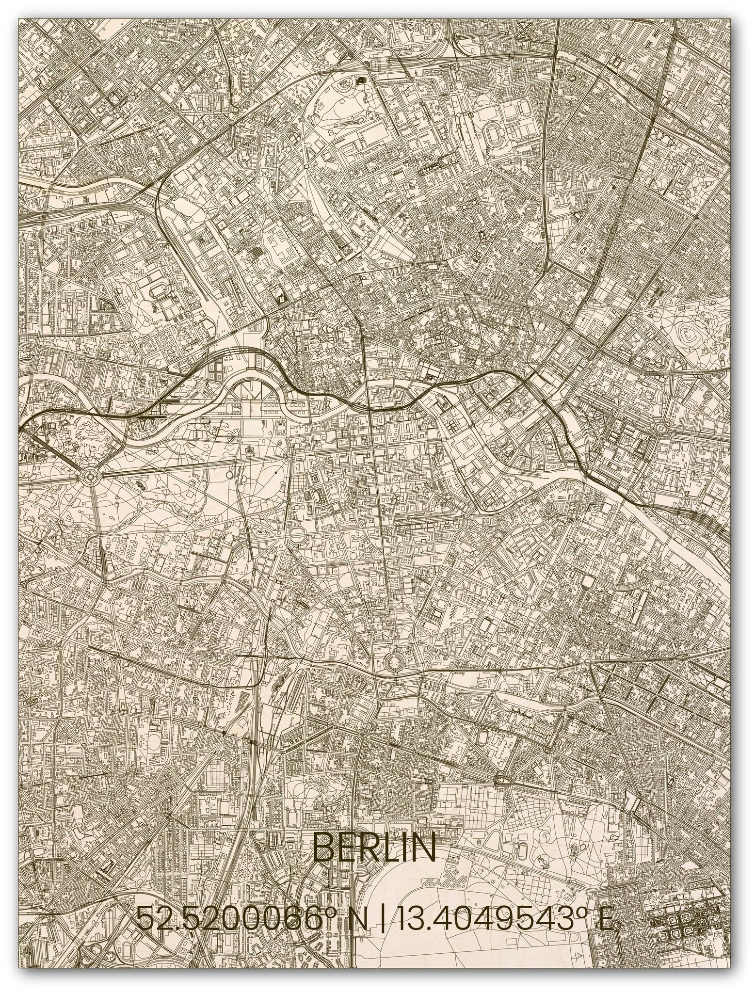 Houten stadsplattegrond Berlijn-1