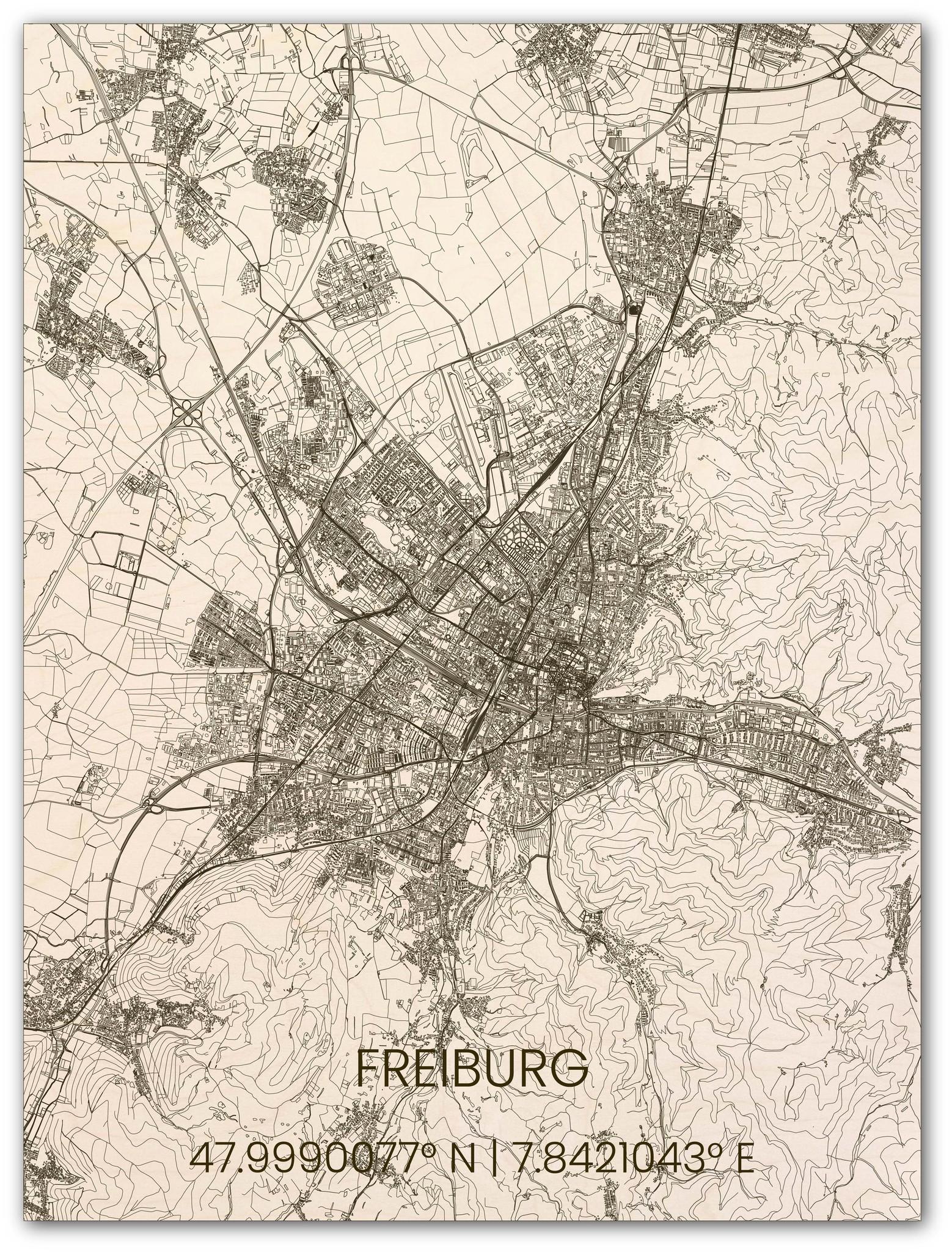 Houten stadsplattegrond Freiburg-1