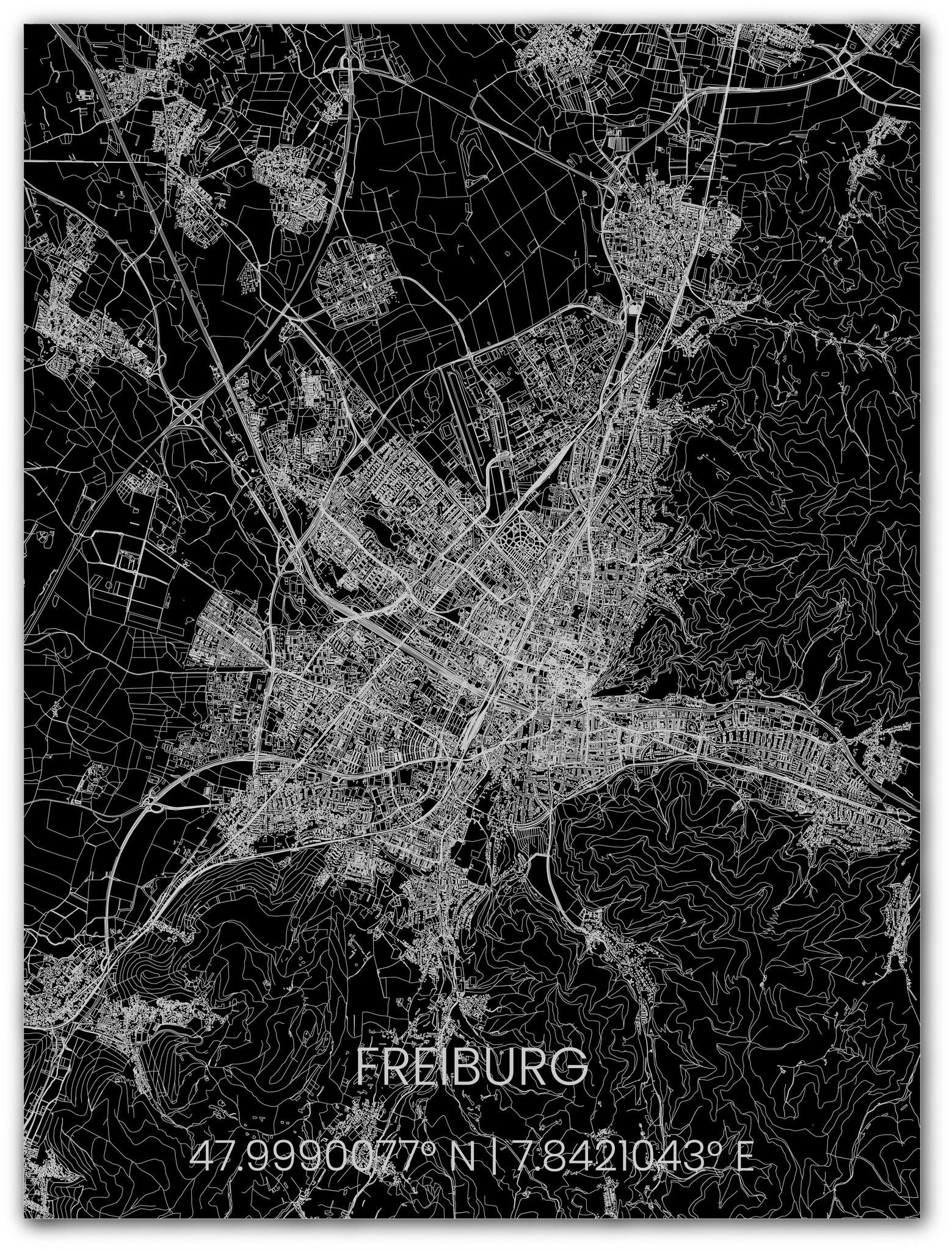 Metalen stadsplattegrond Freiburg-1