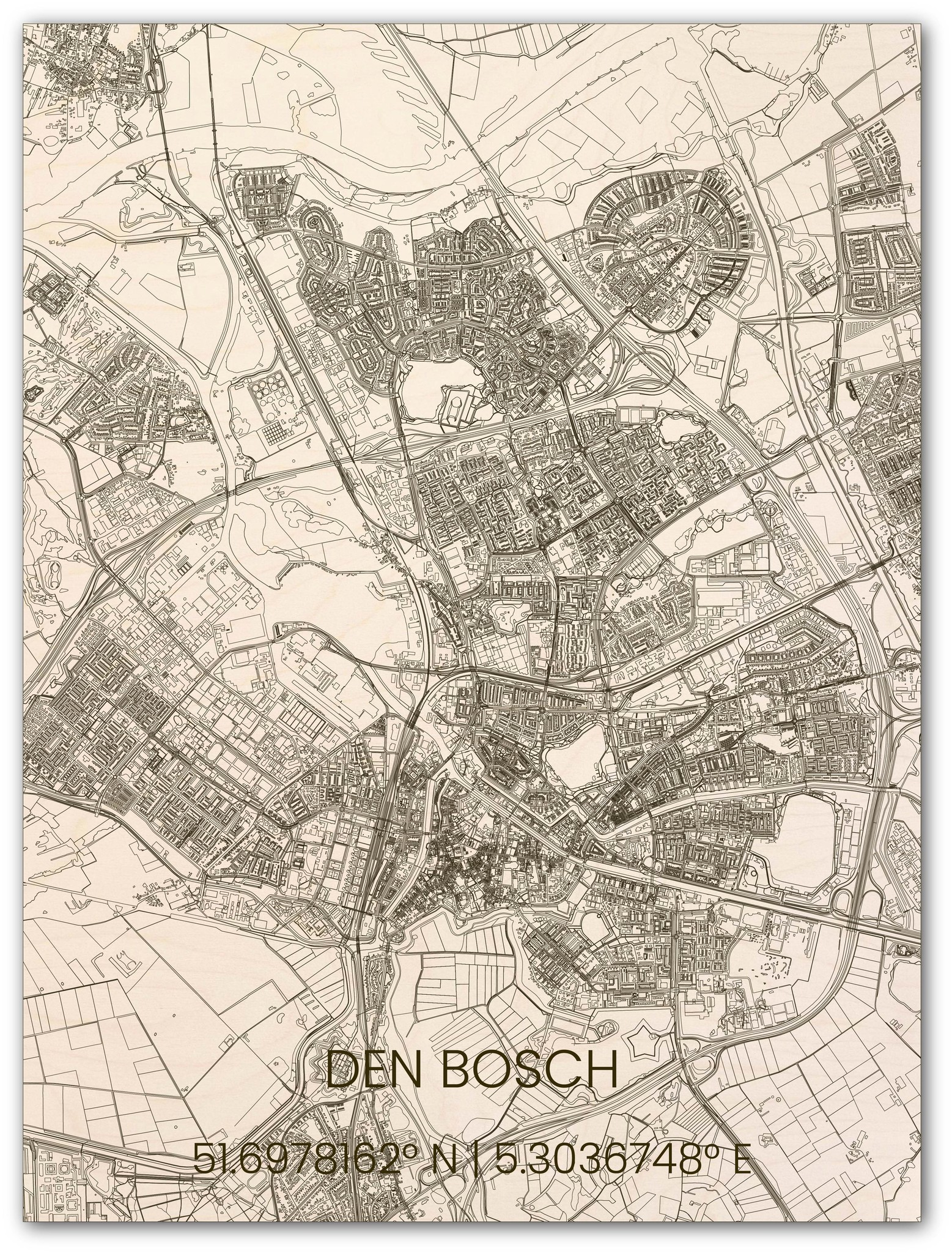 Houten stadsplattegrond Den Bosch-1