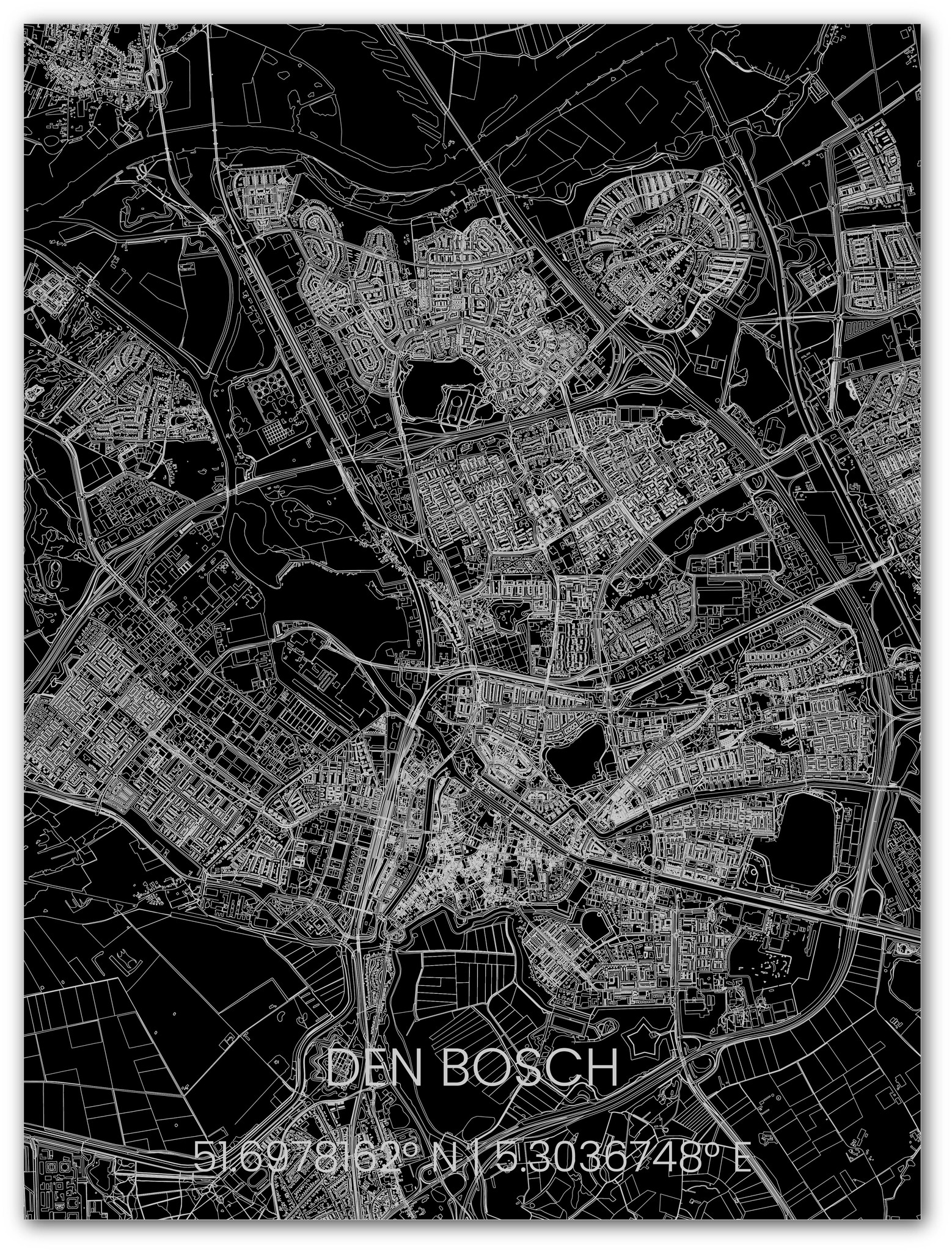 Stadtkarte Metal Den Bosch-1