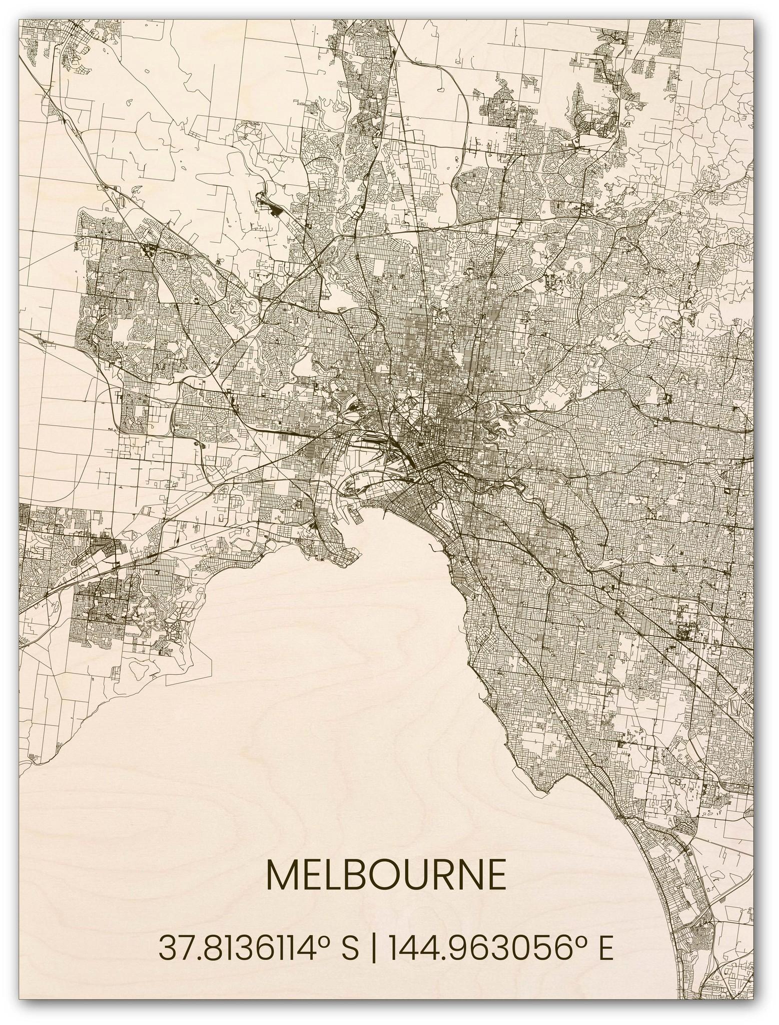 Houten stadsplattegrond Melbourne-1
