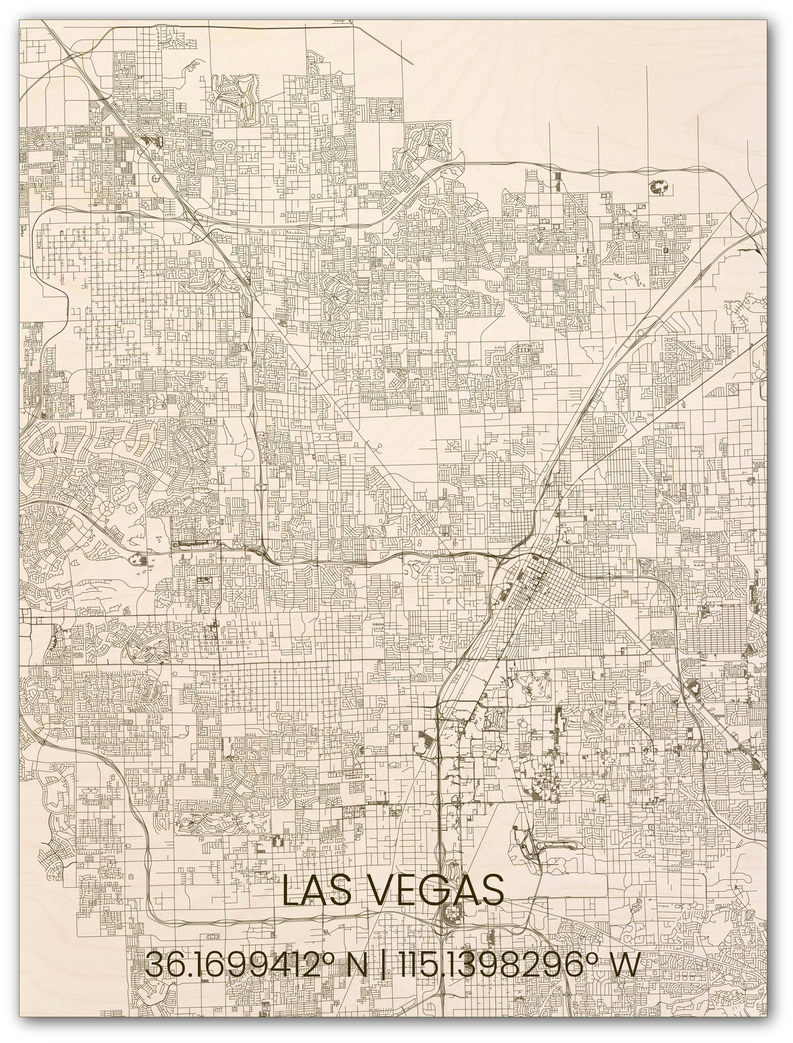 Hölzerner Stadtplan Las Vegas-1