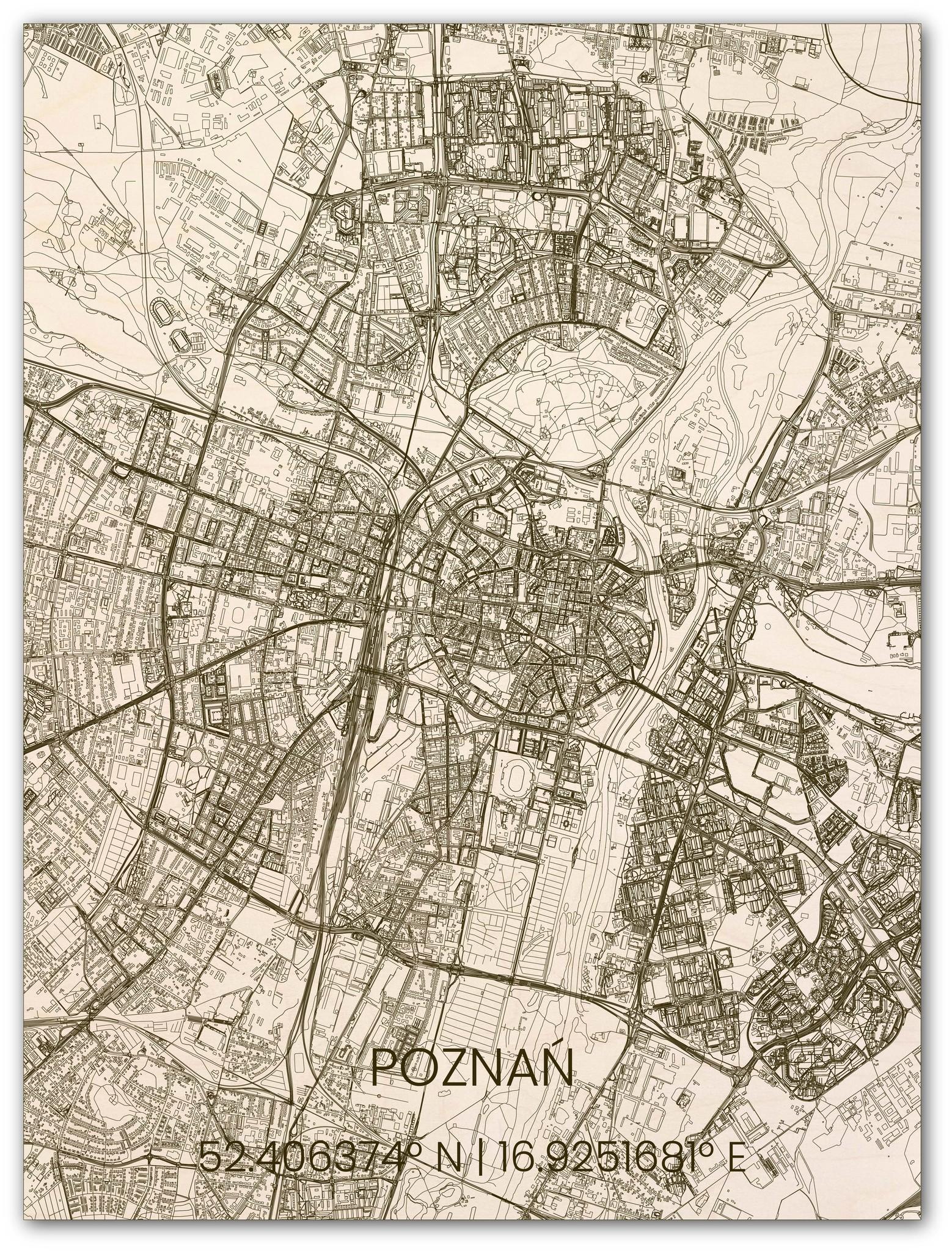 Houten stadsplattegrond Poznań-1