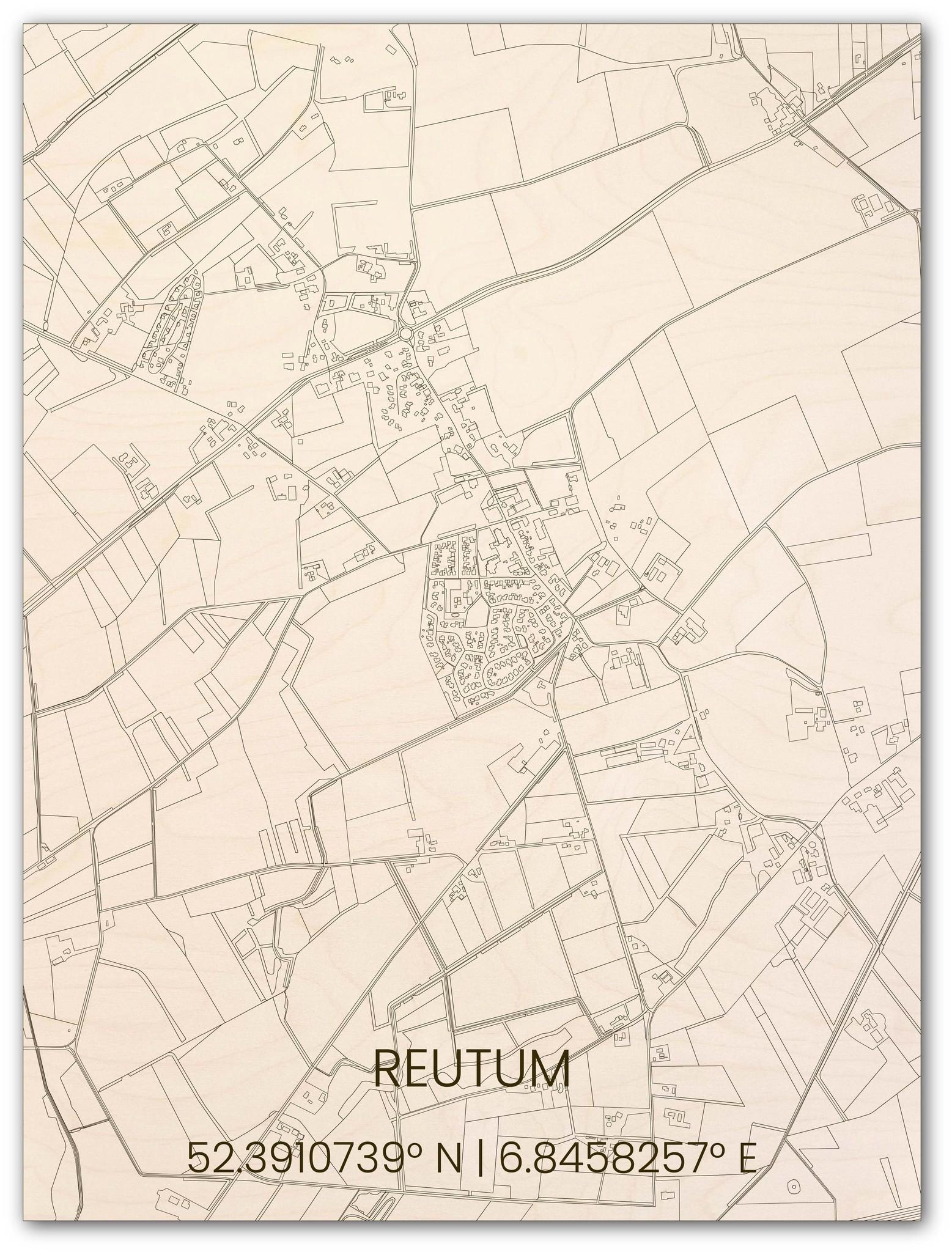 Wooden wall decoration citymap Reutum-1
