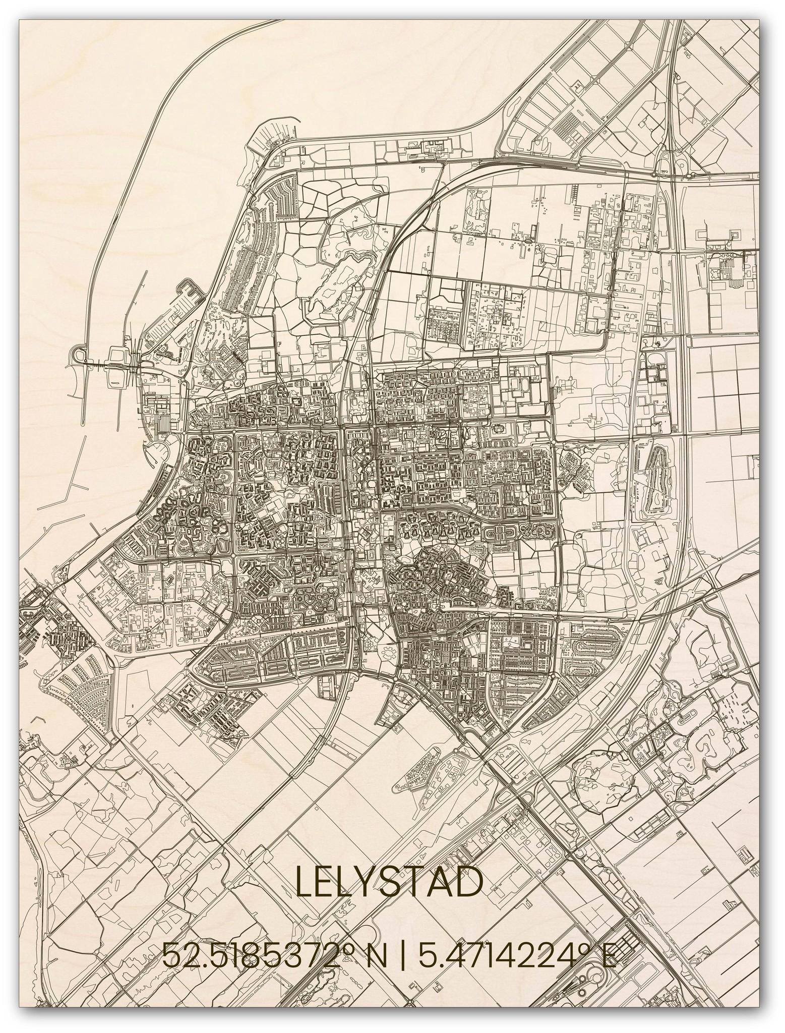 Houten stadsplattegrond Lelystad-1