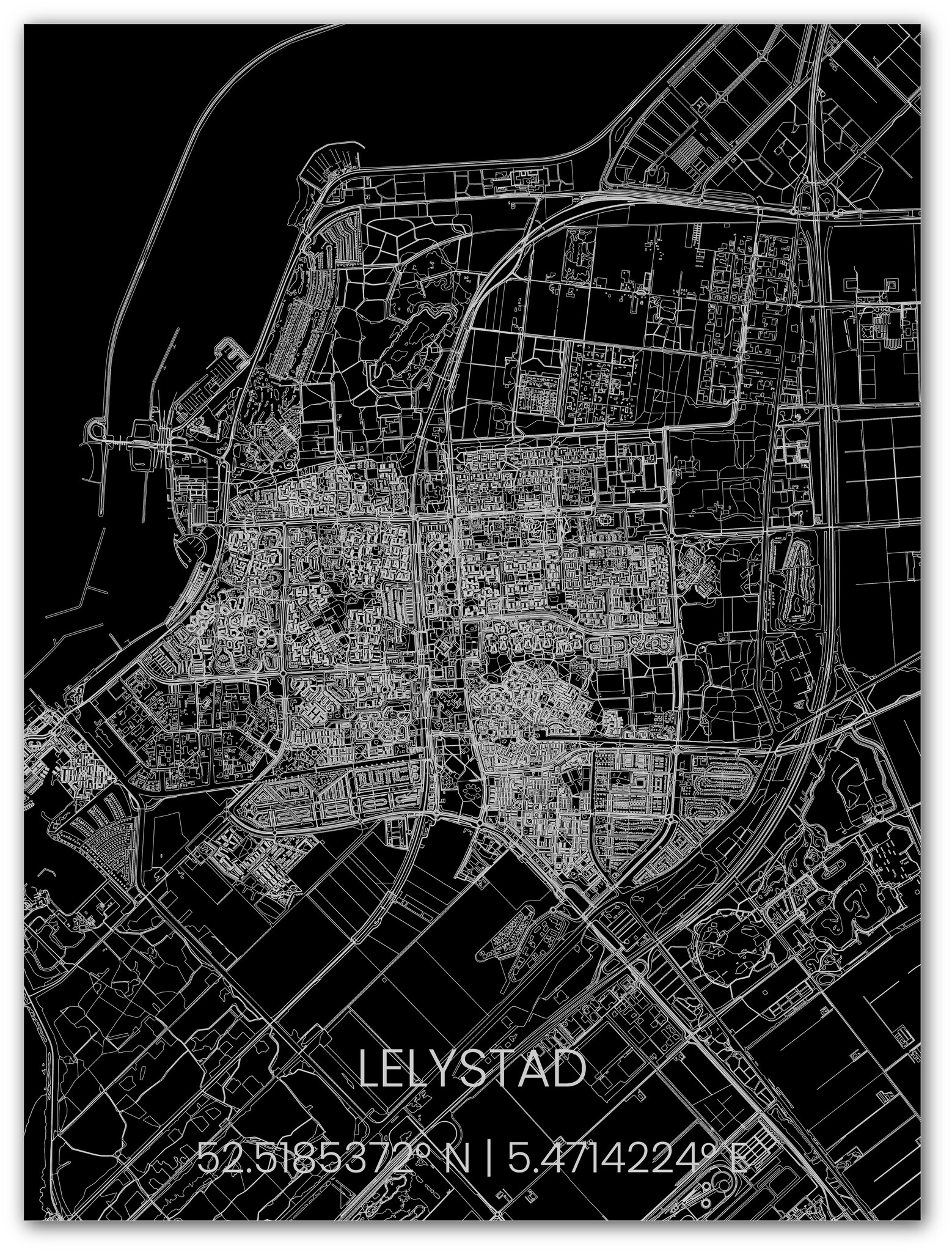Metalen stadsplattegrond Lelystad-1
