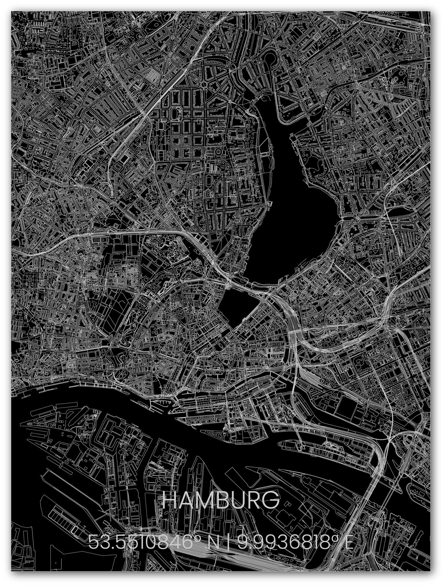 Metalen stadsplattegrond Hamburg-1