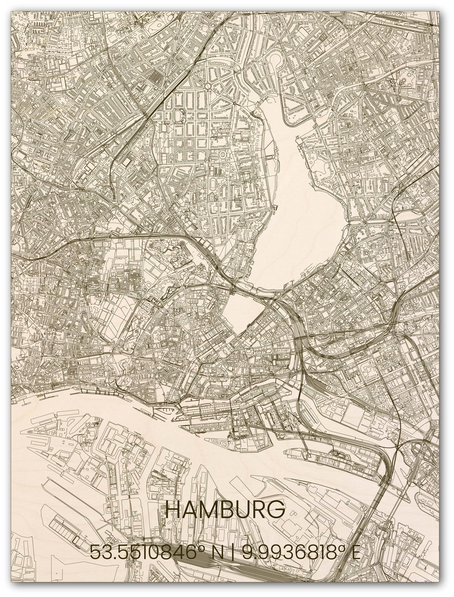 Wooden wall decoration citymap Hamburg-1