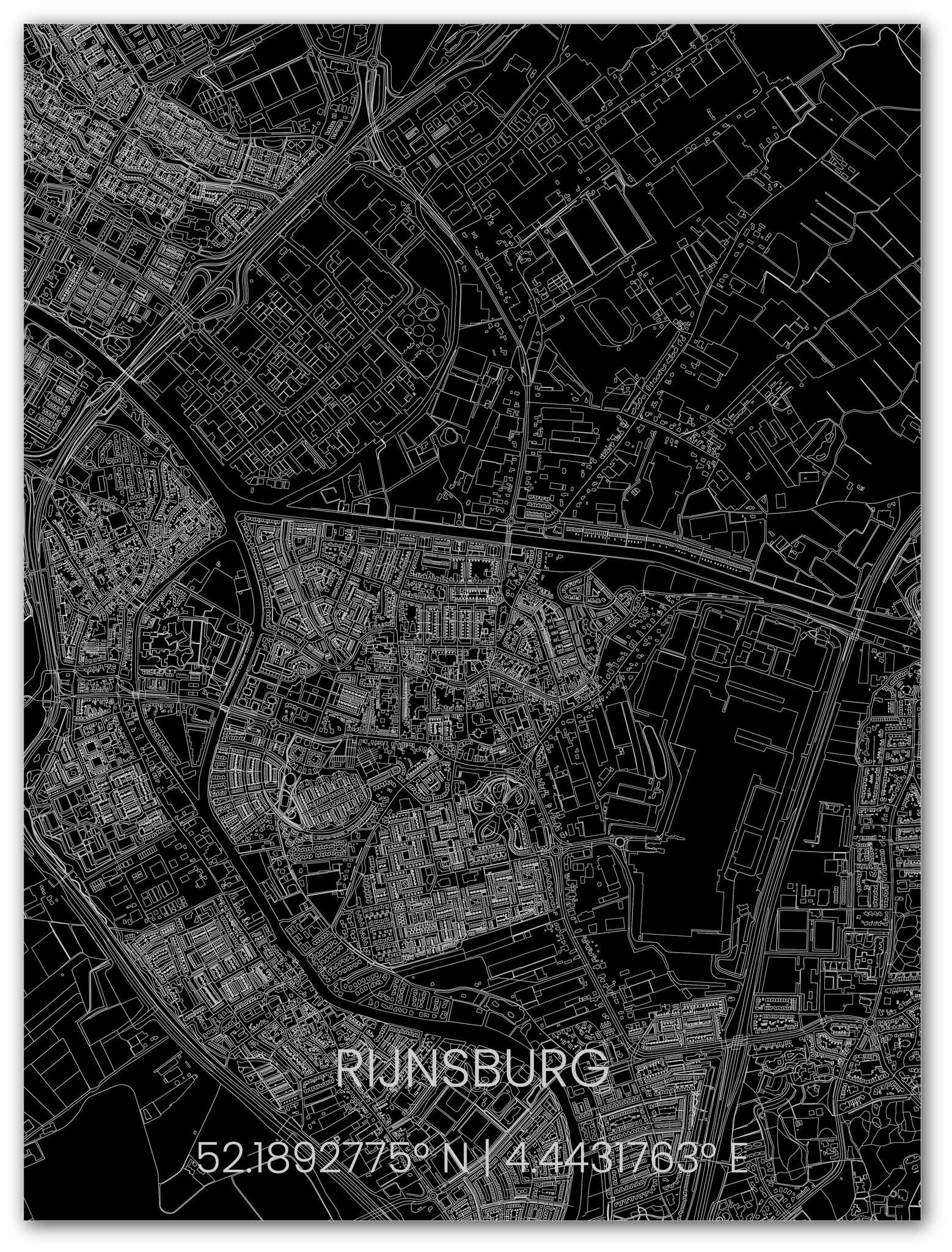 Citymap Rijnsburg | Aluminium wanddecoratie-1