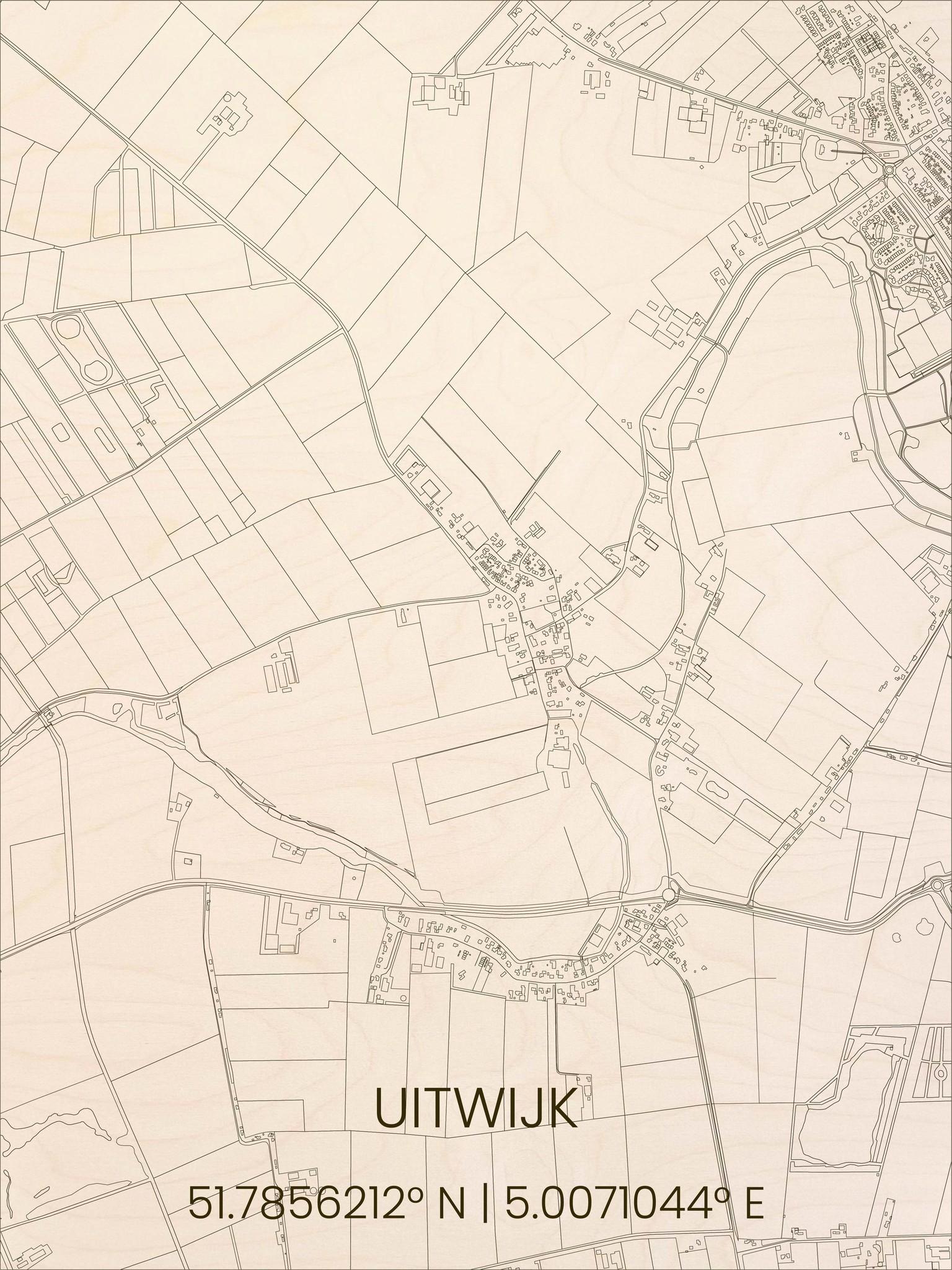 Houten stadsplattegrond Uitwijk-1