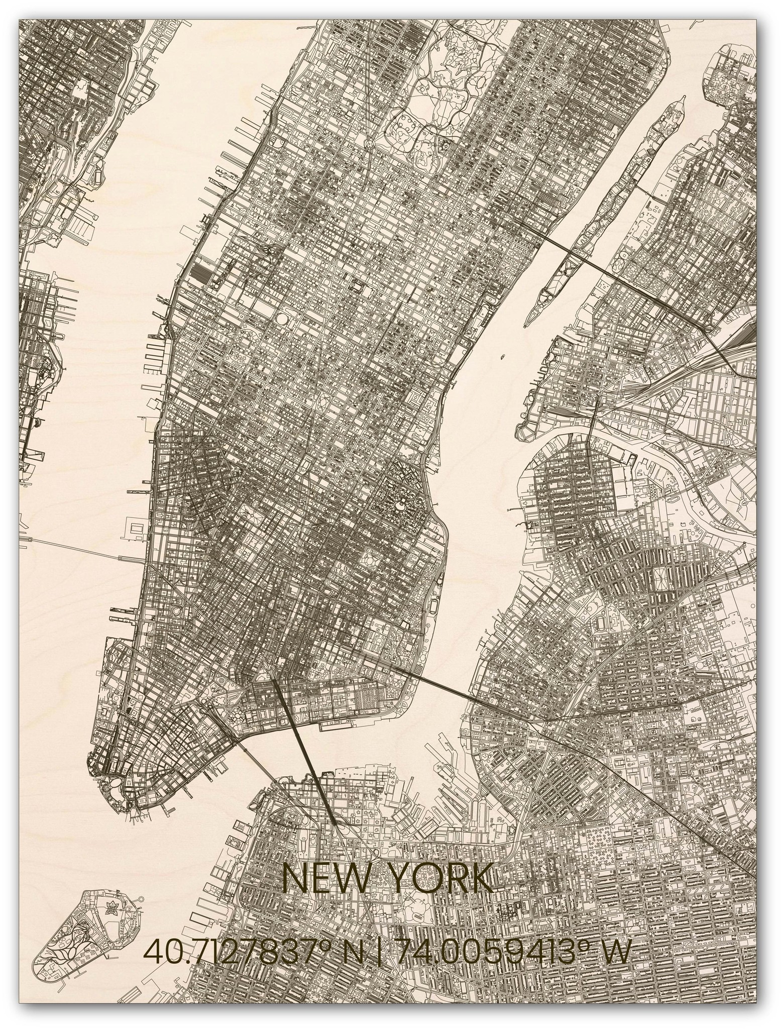 Hölzerner Stadtplan New York-1
