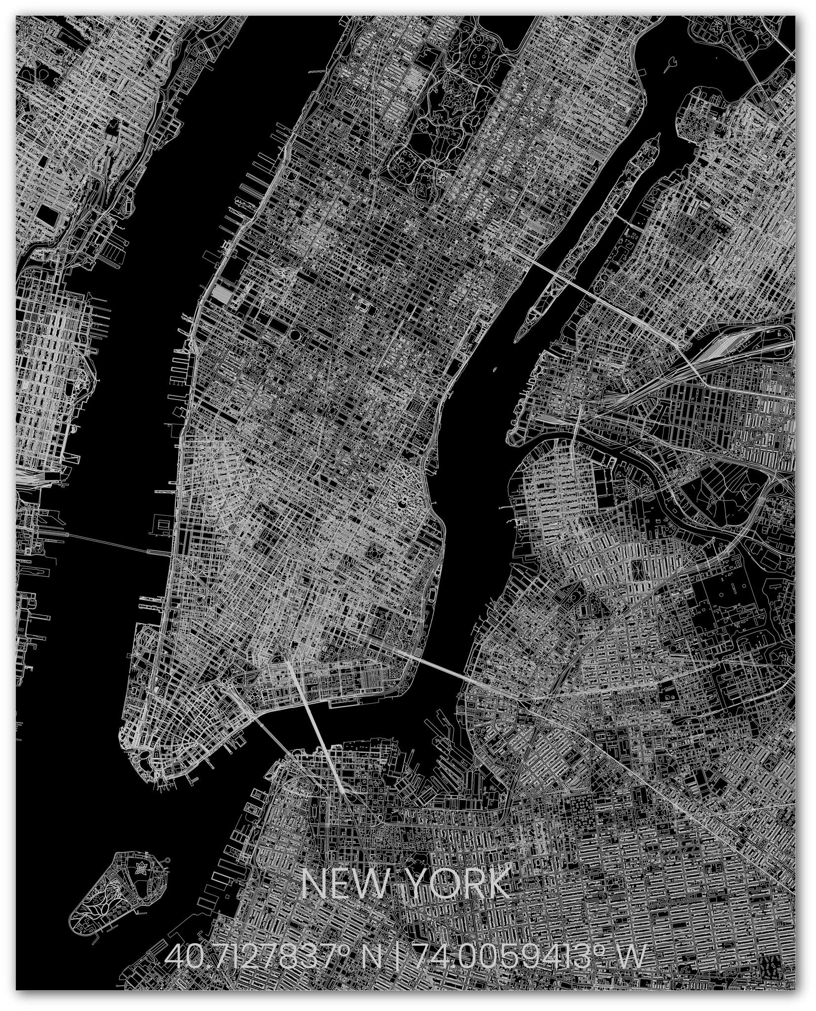 Metalen stadsplattegrond New York-2