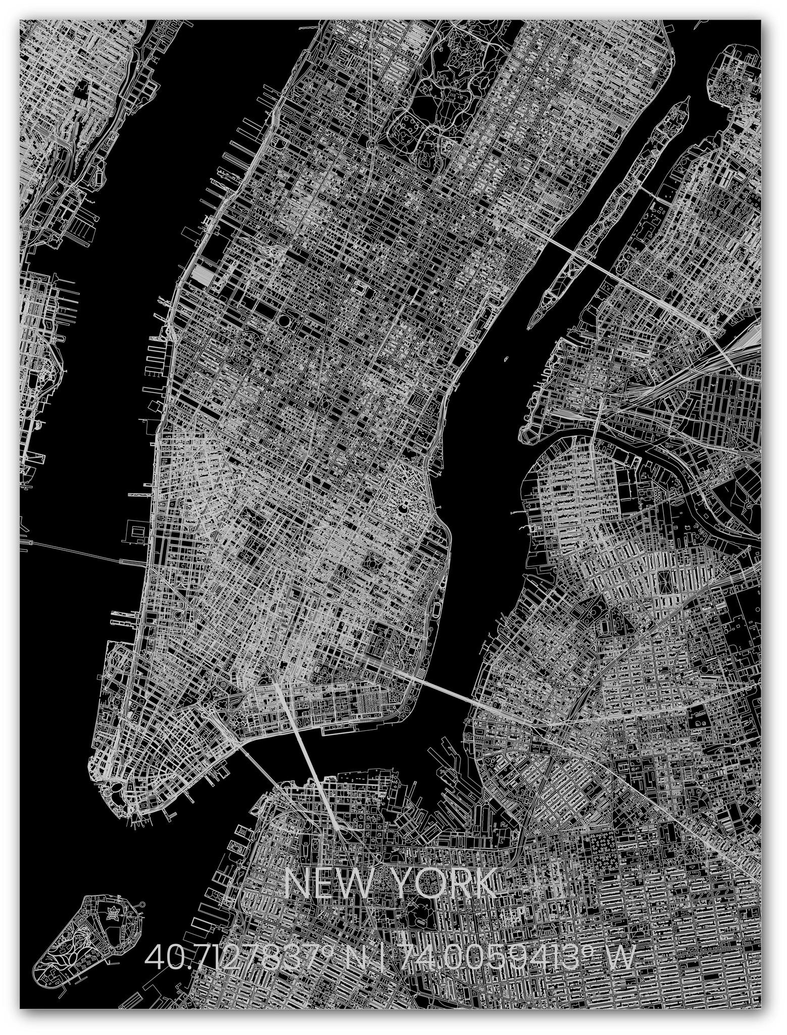 Metalen stadsplattegrond New York-1