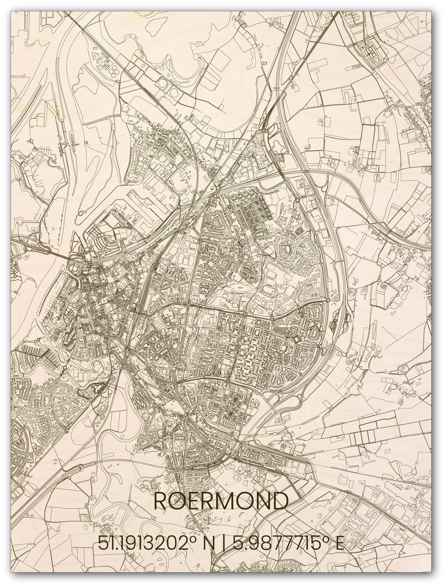 Houten stadsplattegrond Roermond-1