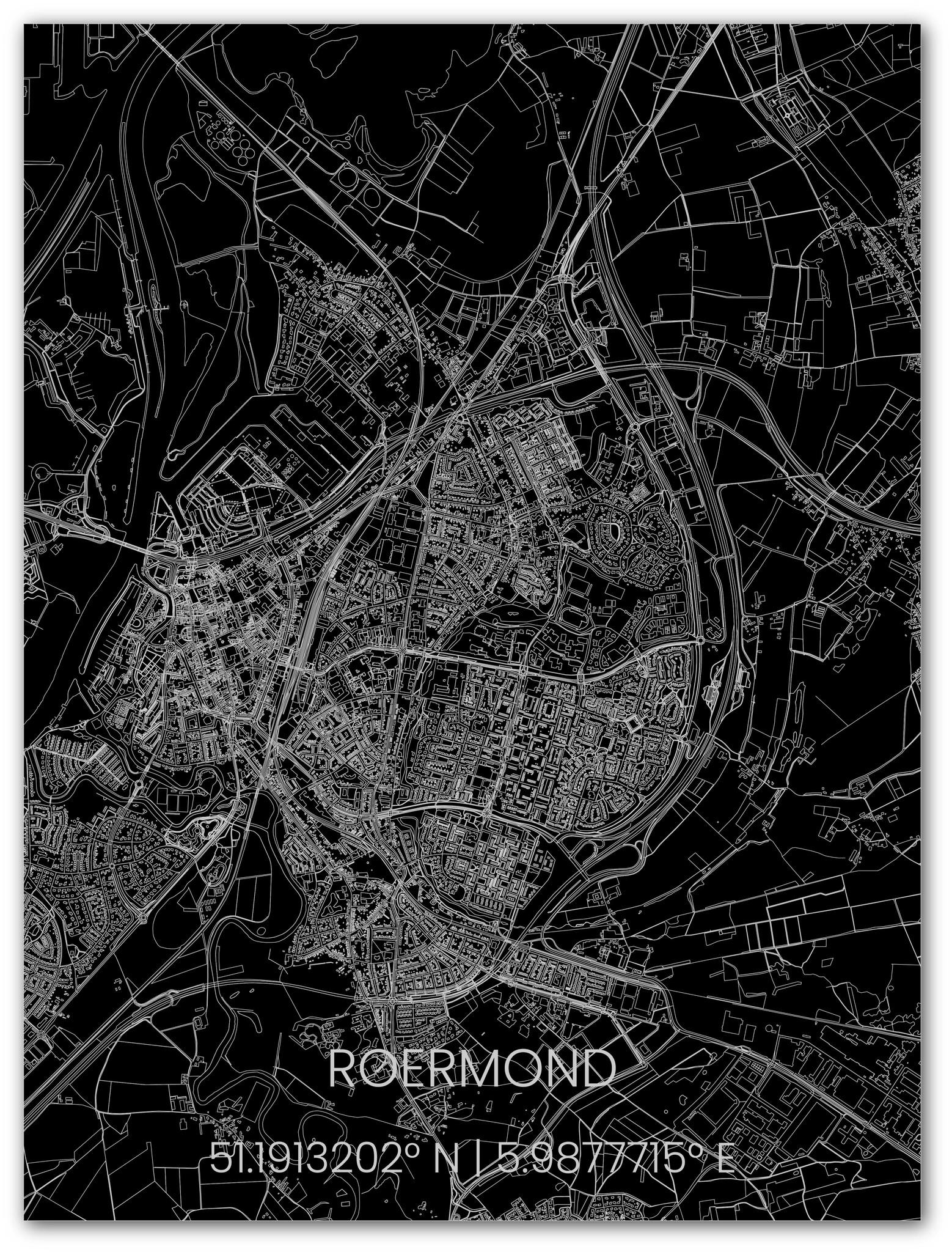 Citymap Roermond   Aluminium wanddecoratie-1