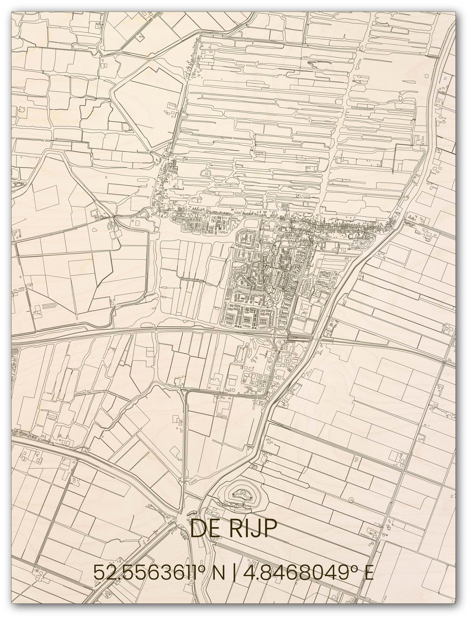 Wooden wall decoration citymap De Rijp-1