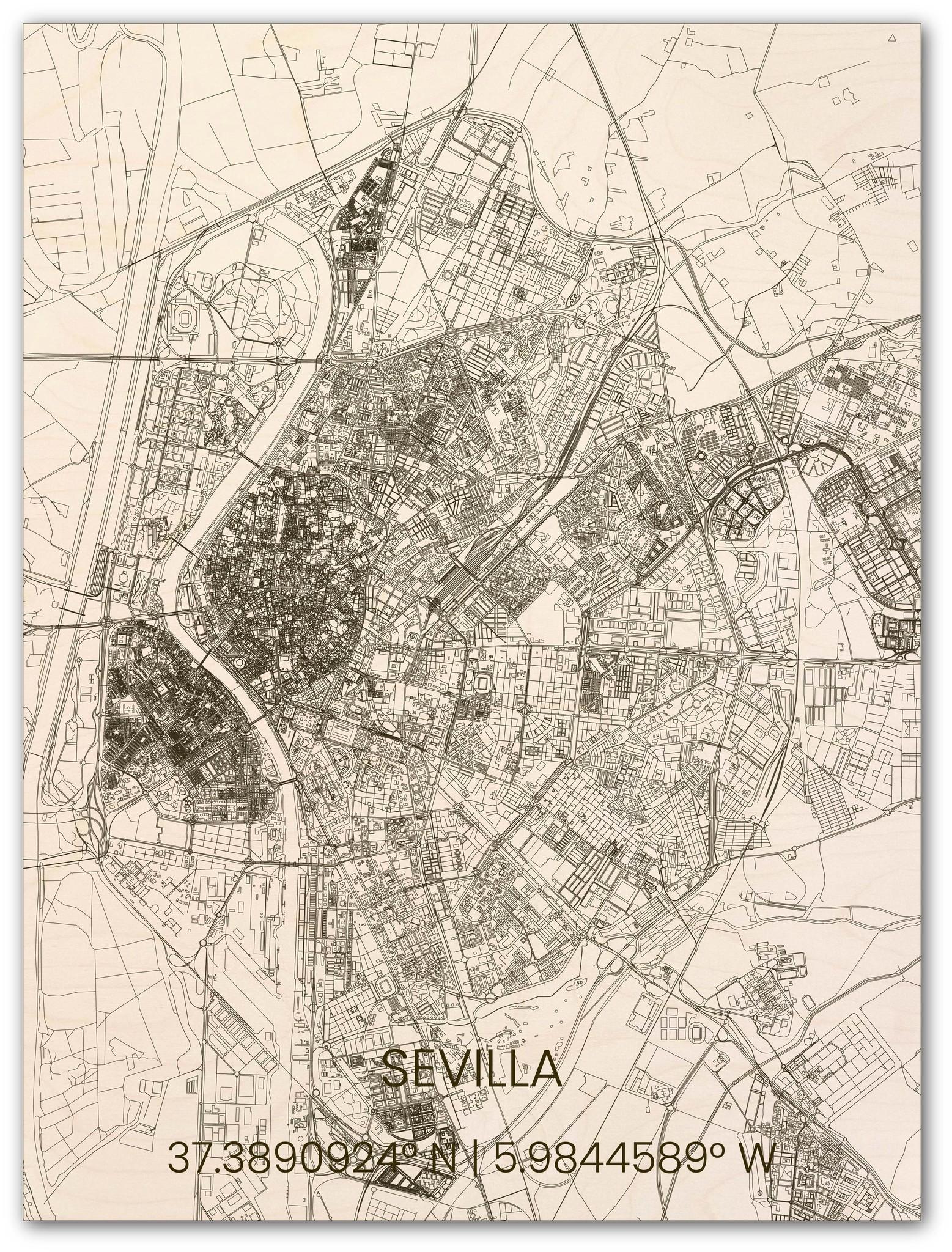 Houten stadsplattegrond Sevilla-1