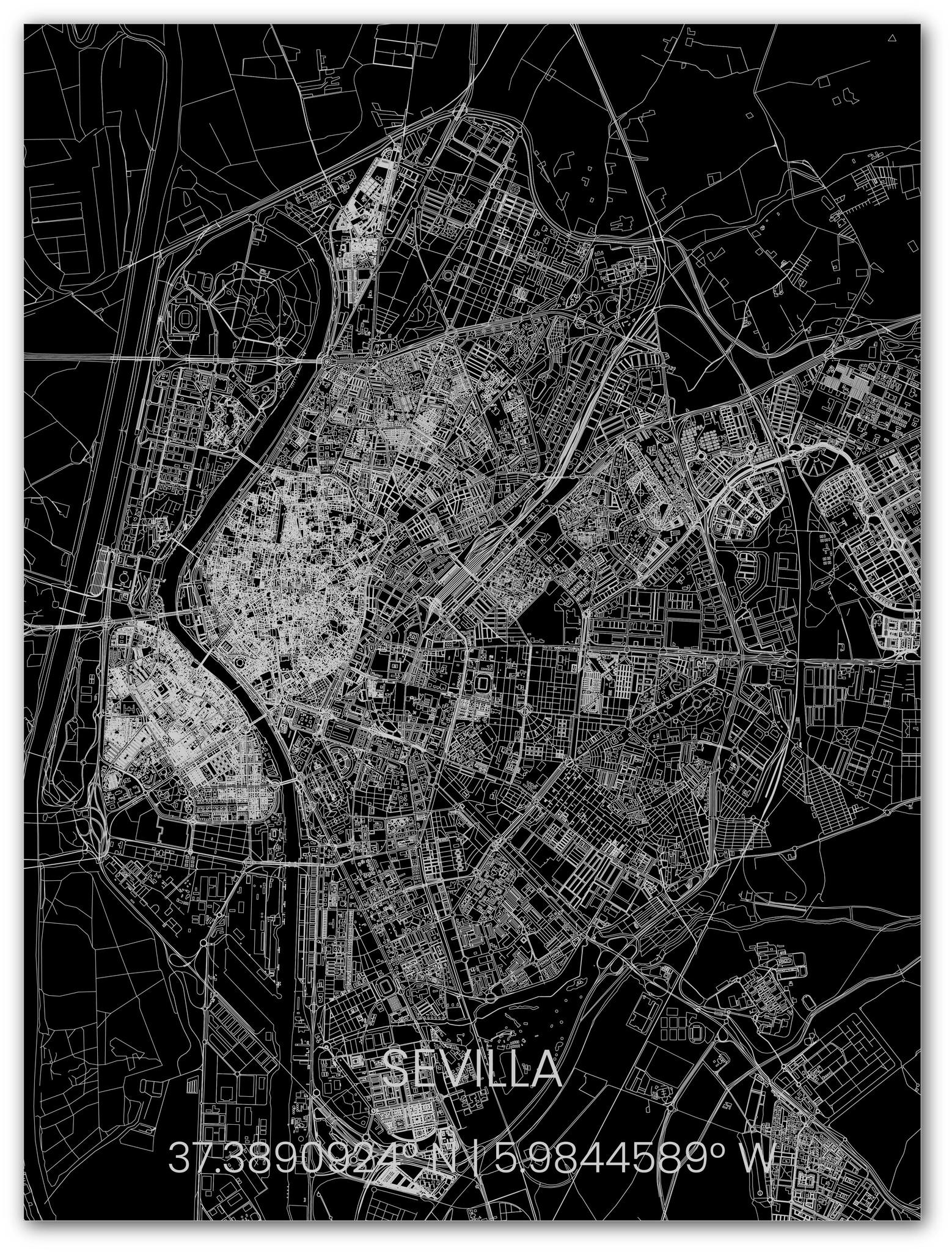 Metalen stadsplattegrond Sevilla-1