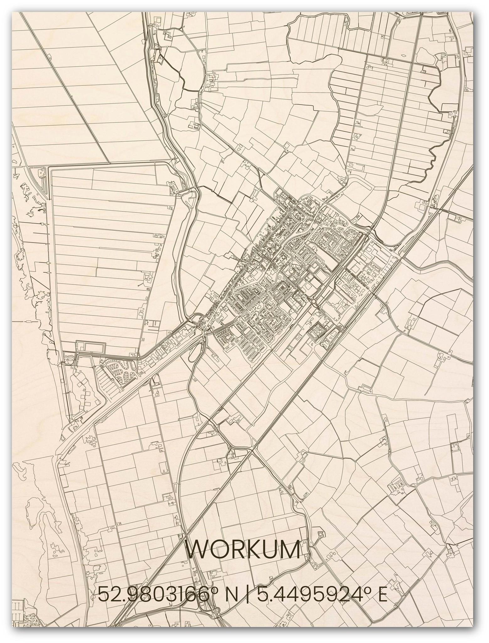 Houten stadsplattegrond Workum-1