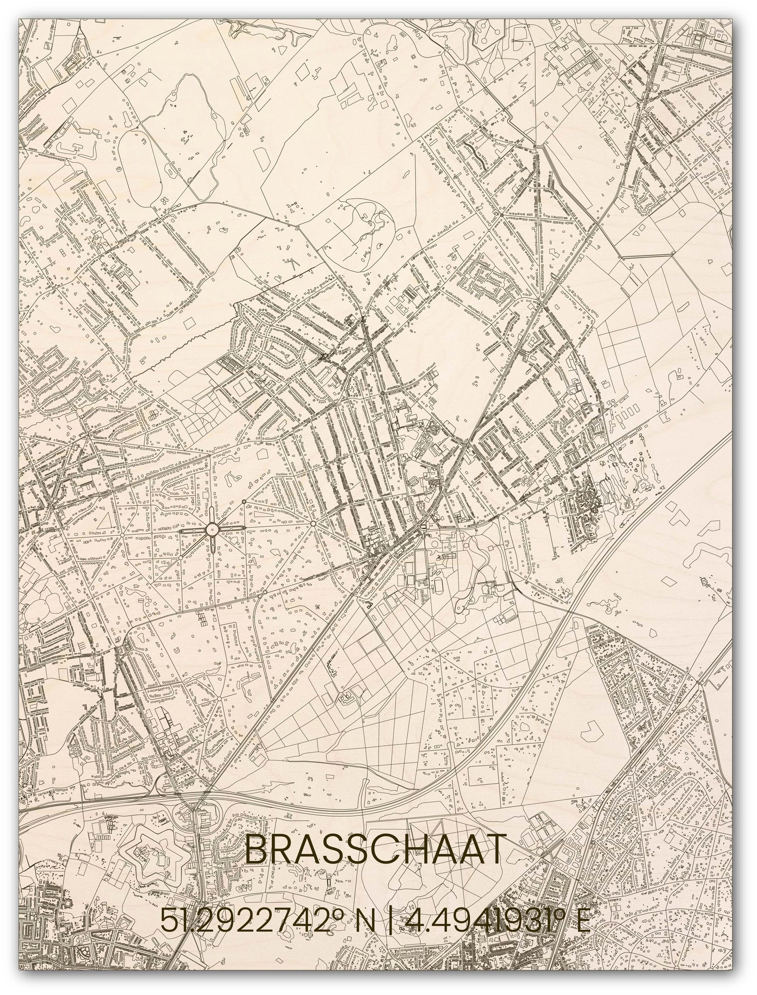 Houten stadsplattegrond Brasschaat-1