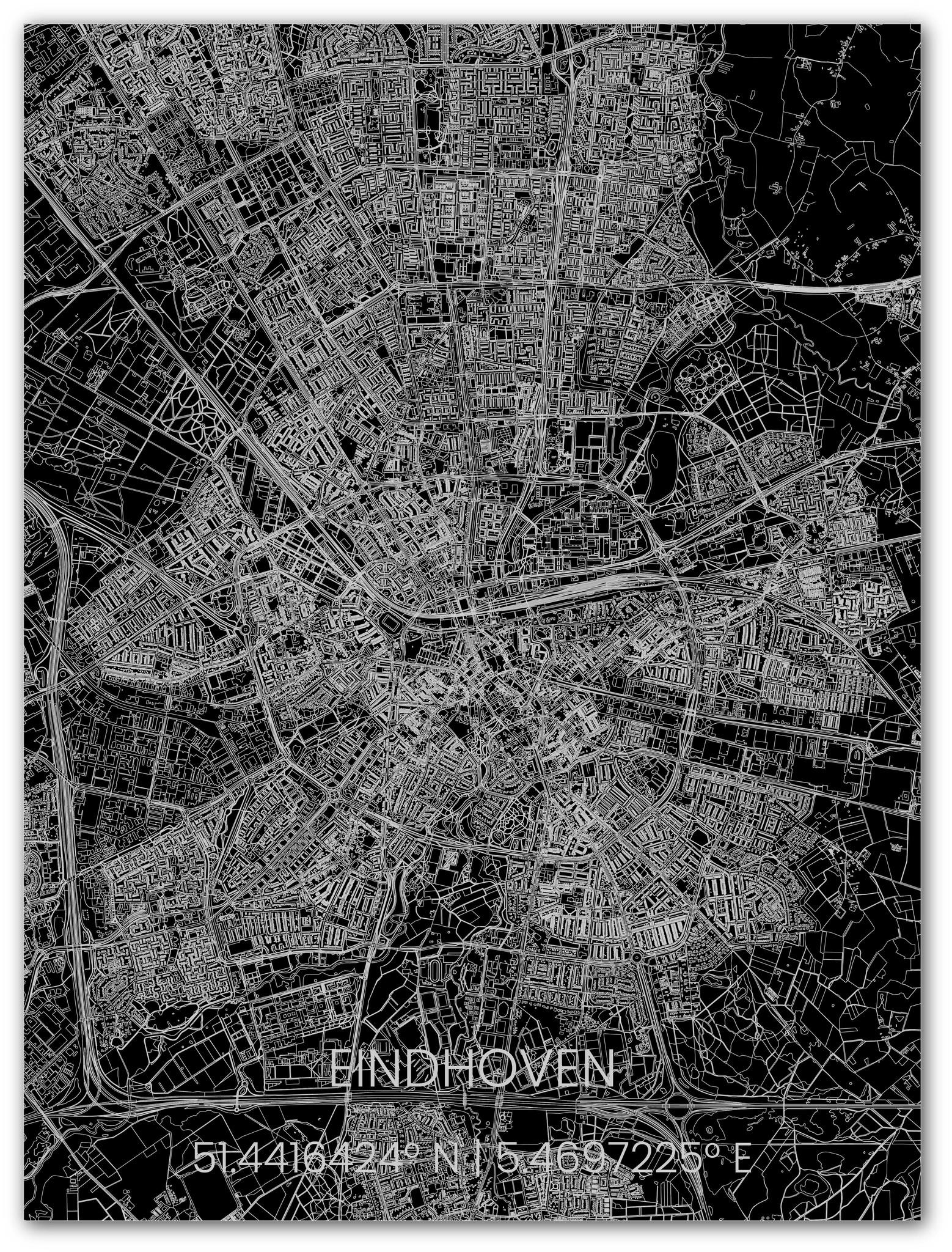 Metalen stadsplattegrond Eindhoven-1