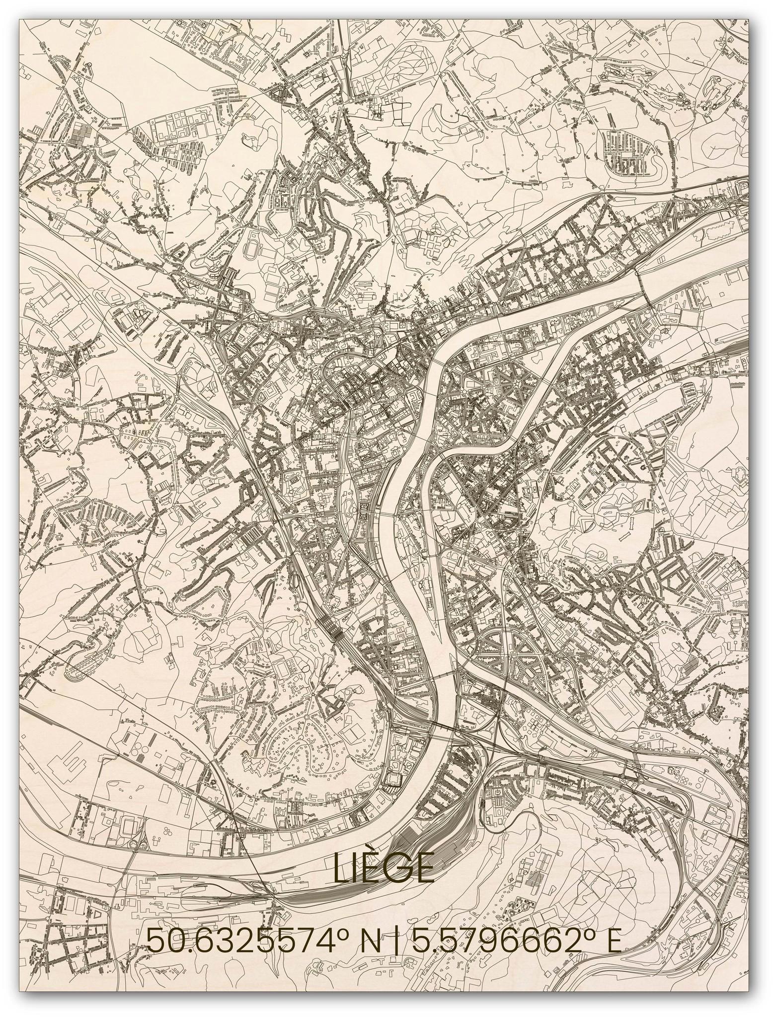 Houten stadsplattegrond Luik-1
