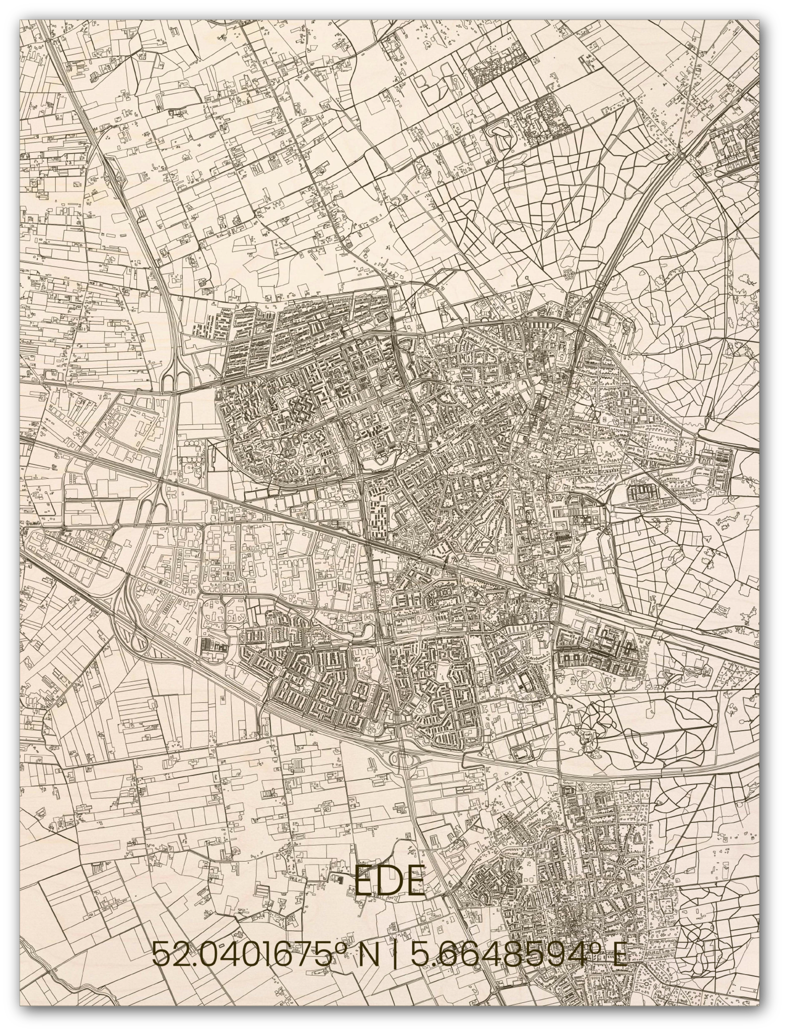 Houten stadsplattegrond Ede-1