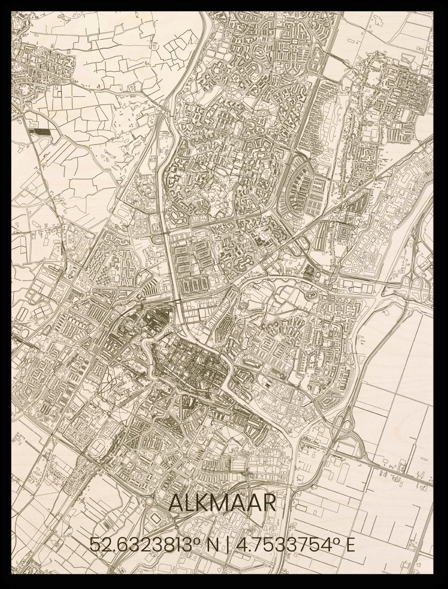 Houten stadsplattegrond Alkmaar-1