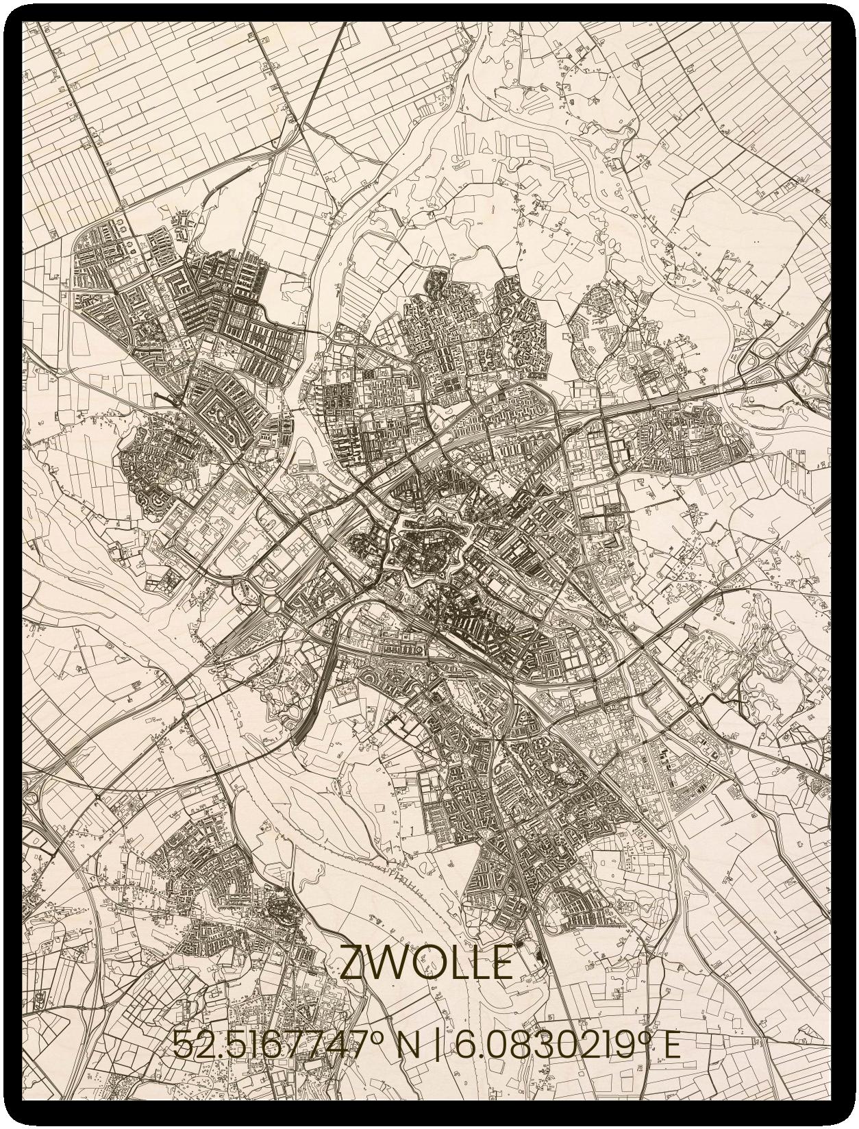 Houten stadsplattegrond Zwolle-1