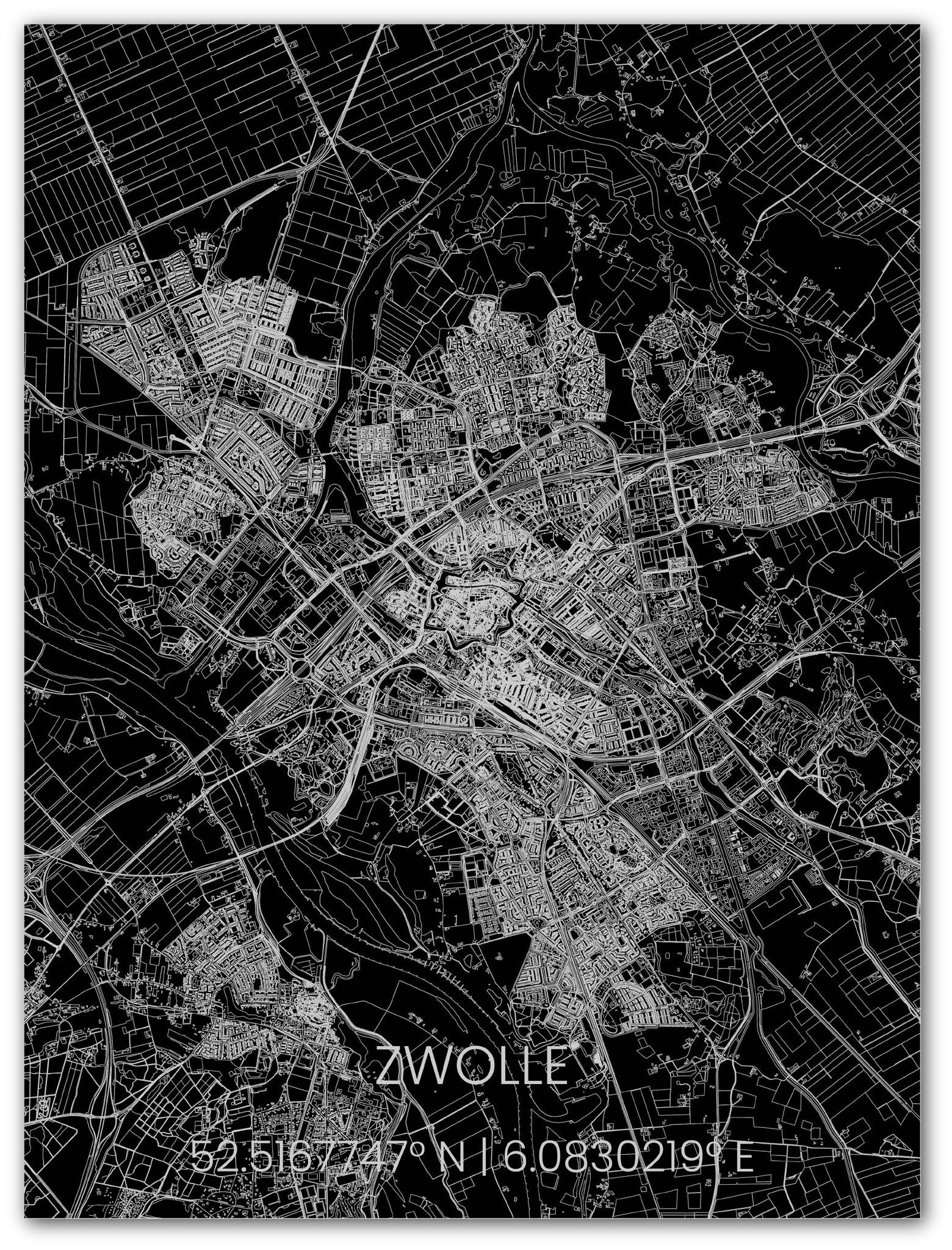 Metalen stadsplattegrond Zwolle-1