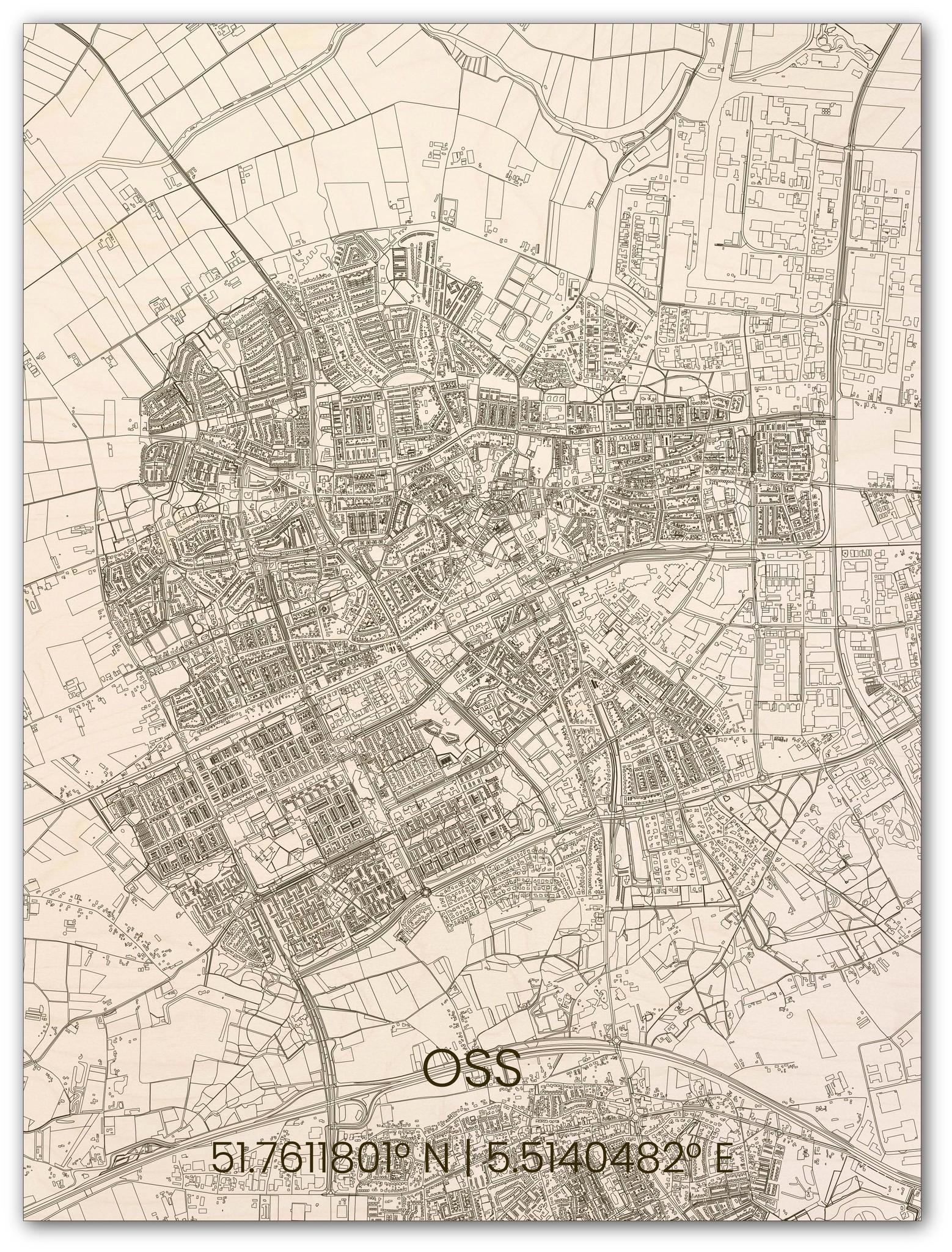 Houten stadsplattegrond Oss-1