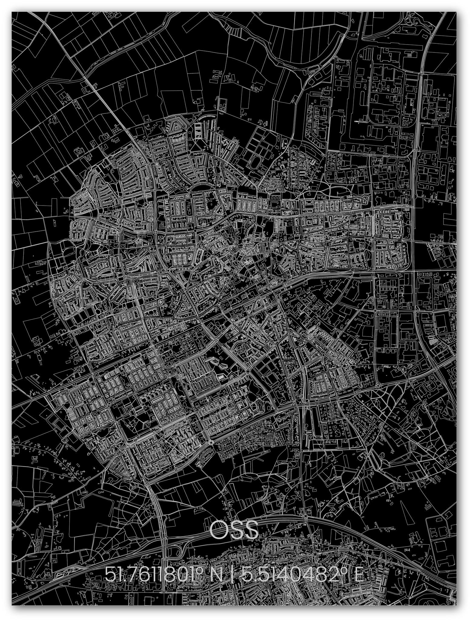 Citymap Oss   Aluminium wanddecoratie-1