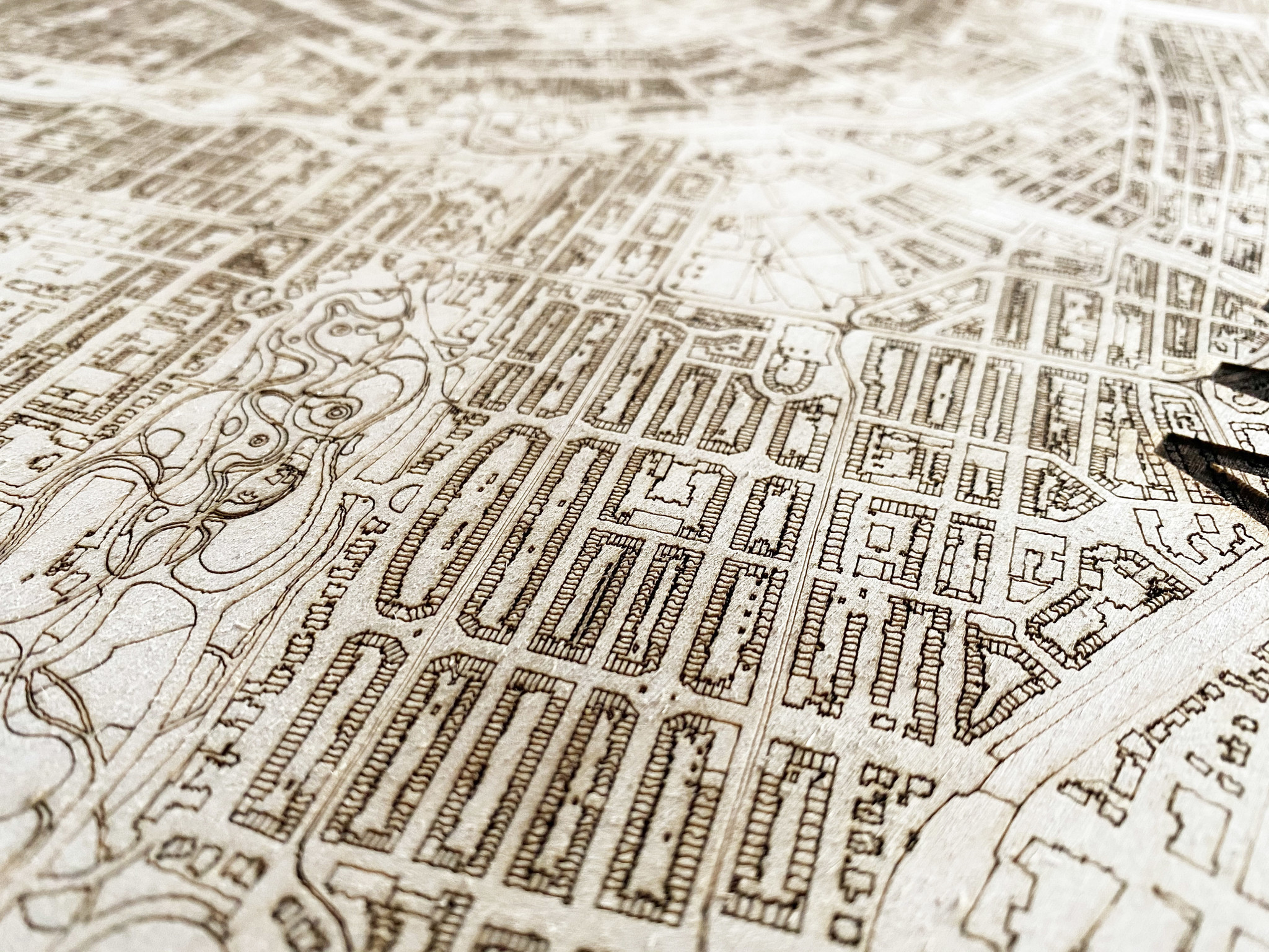 Wooden wall decoration citymap Oldenzaal-3