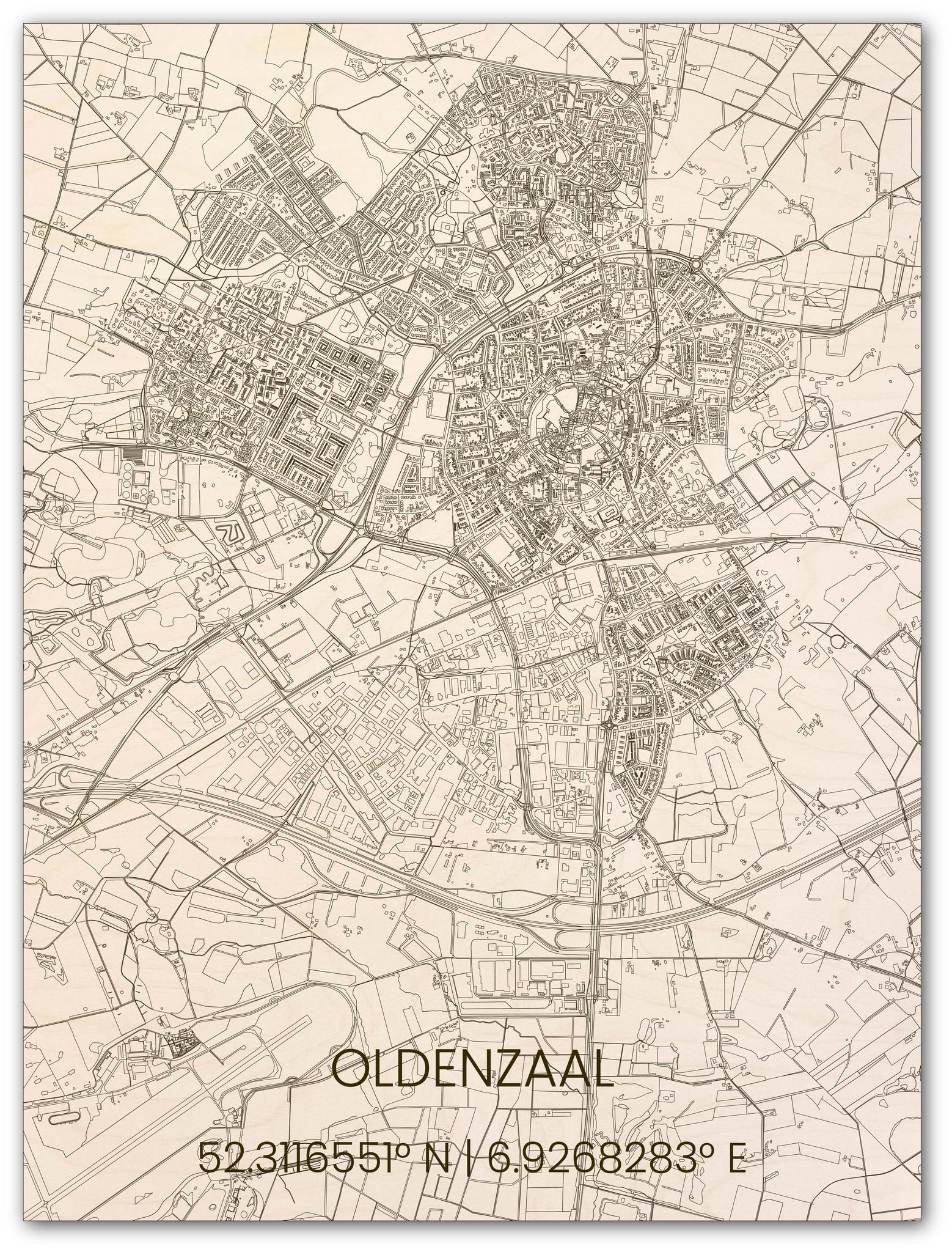 Wooden wall decoration citymap Oldenzaal-1